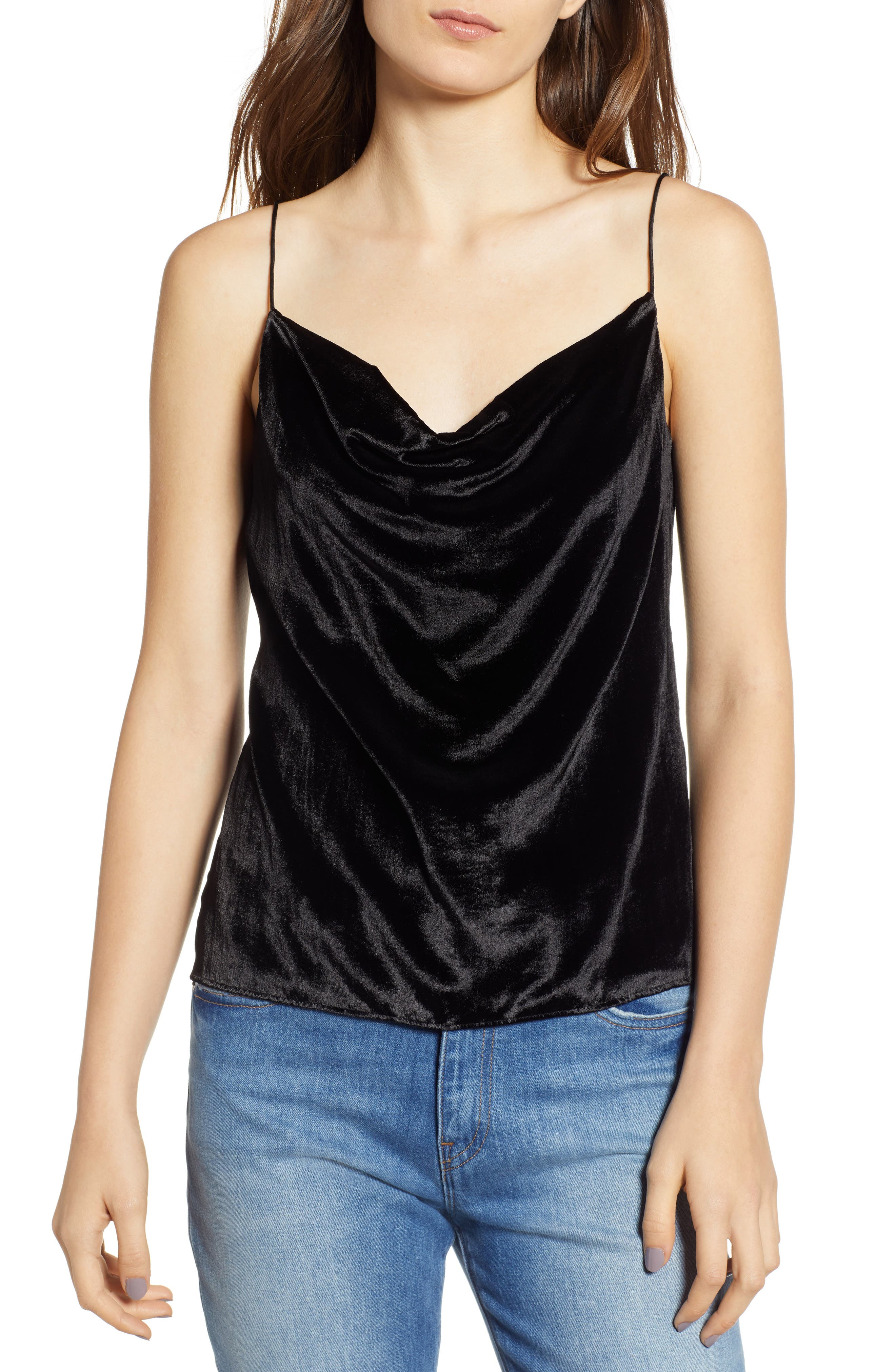 Cowl Neck Mixed Media Camisole,                         Main,                         color, BLACK