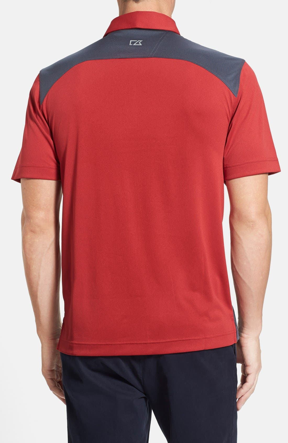'Willows' Colorblock DryTec Polo,                             Alternate thumbnail 3, color,                             CARDINAL RED/ ONYX
