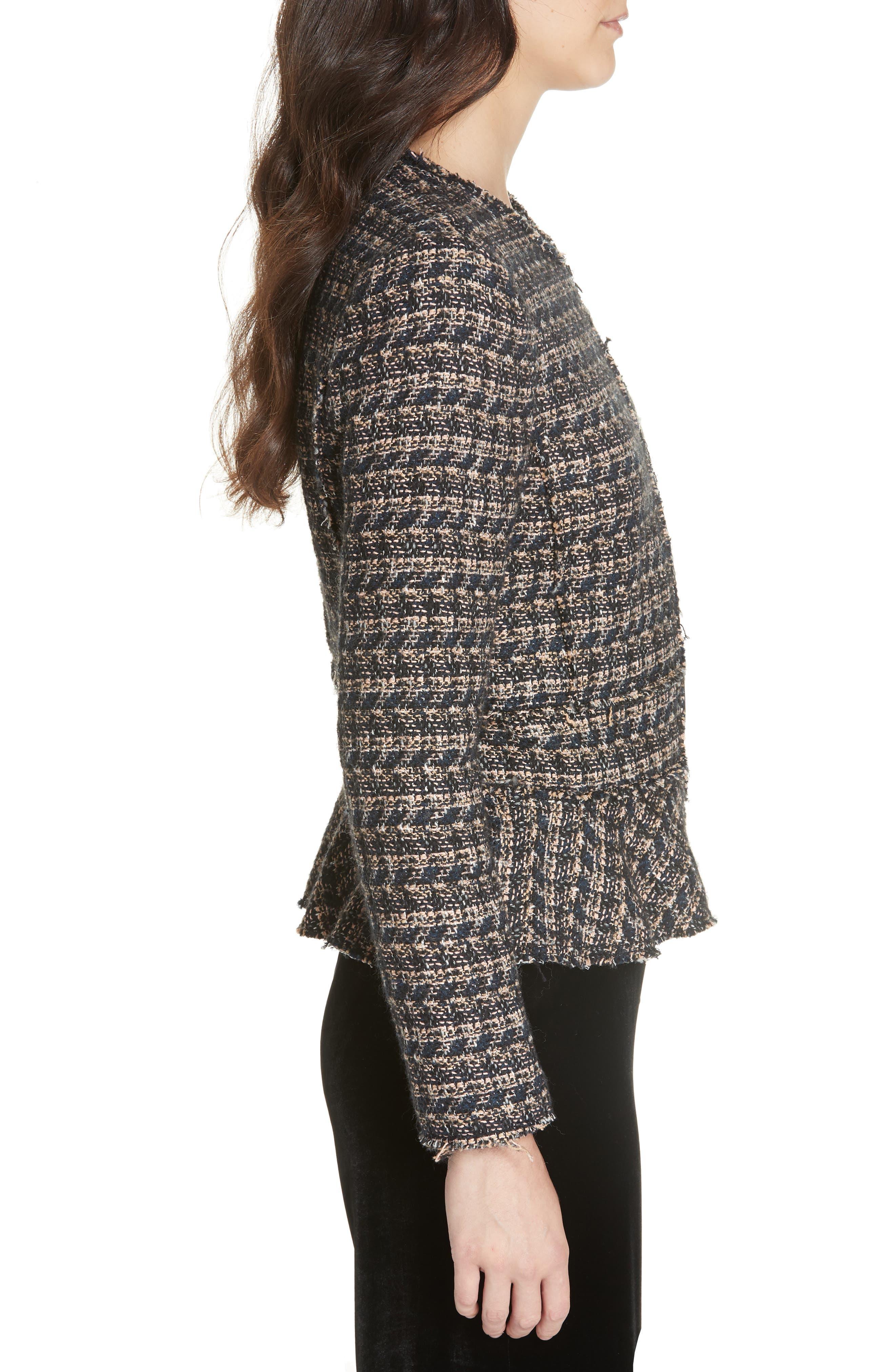 Zip Front Tweed Peplum Jacket,                             Alternate thumbnail 3, color,                             MULTI