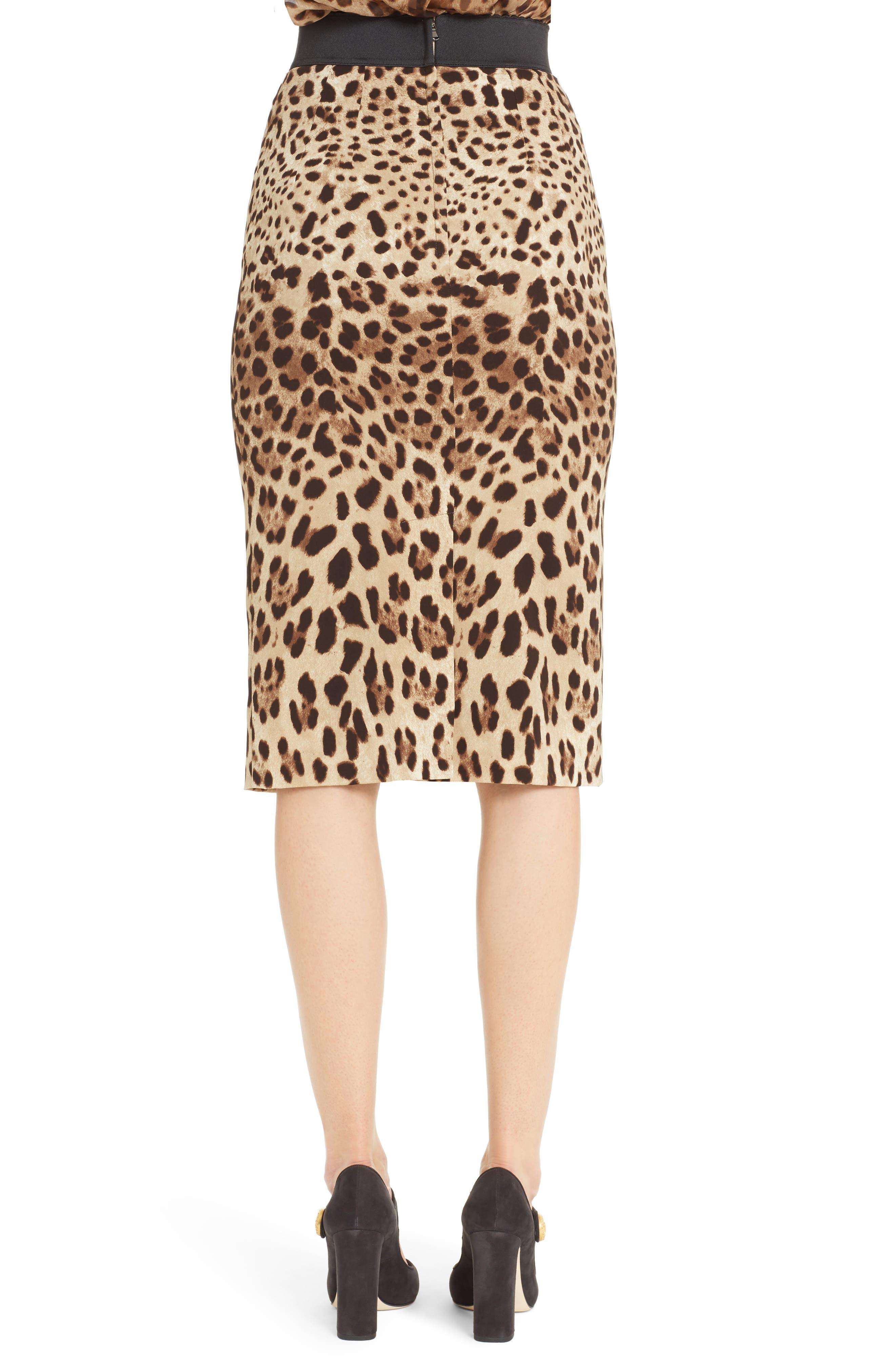 Leopard Print Stretch Silk Pencil Skirt,                             Alternate thumbnail 2, color,                             200