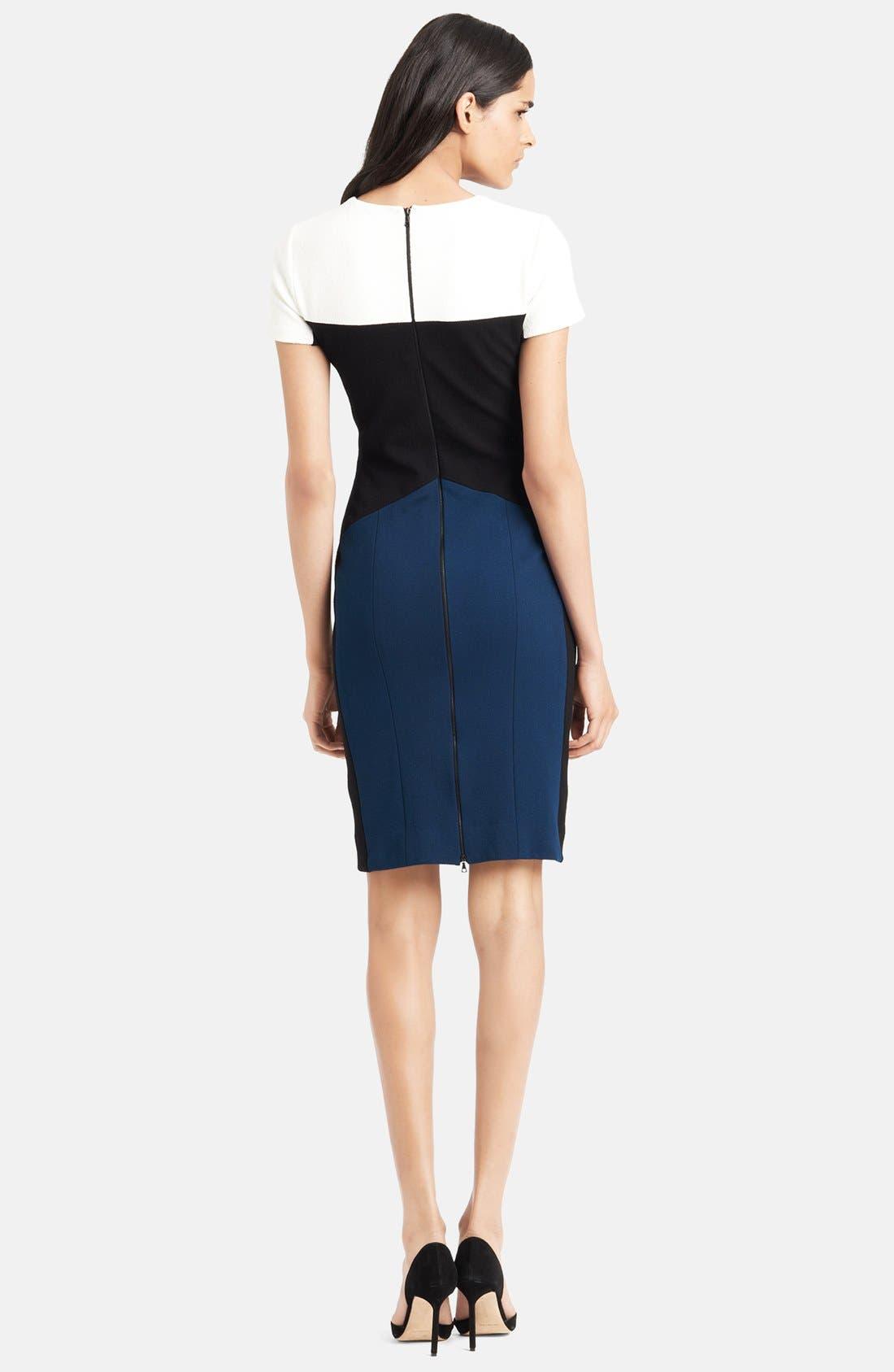 Colorblock Stretch Pebble Crepe Dress,                             Alternate thumbnail 2, color,                             400