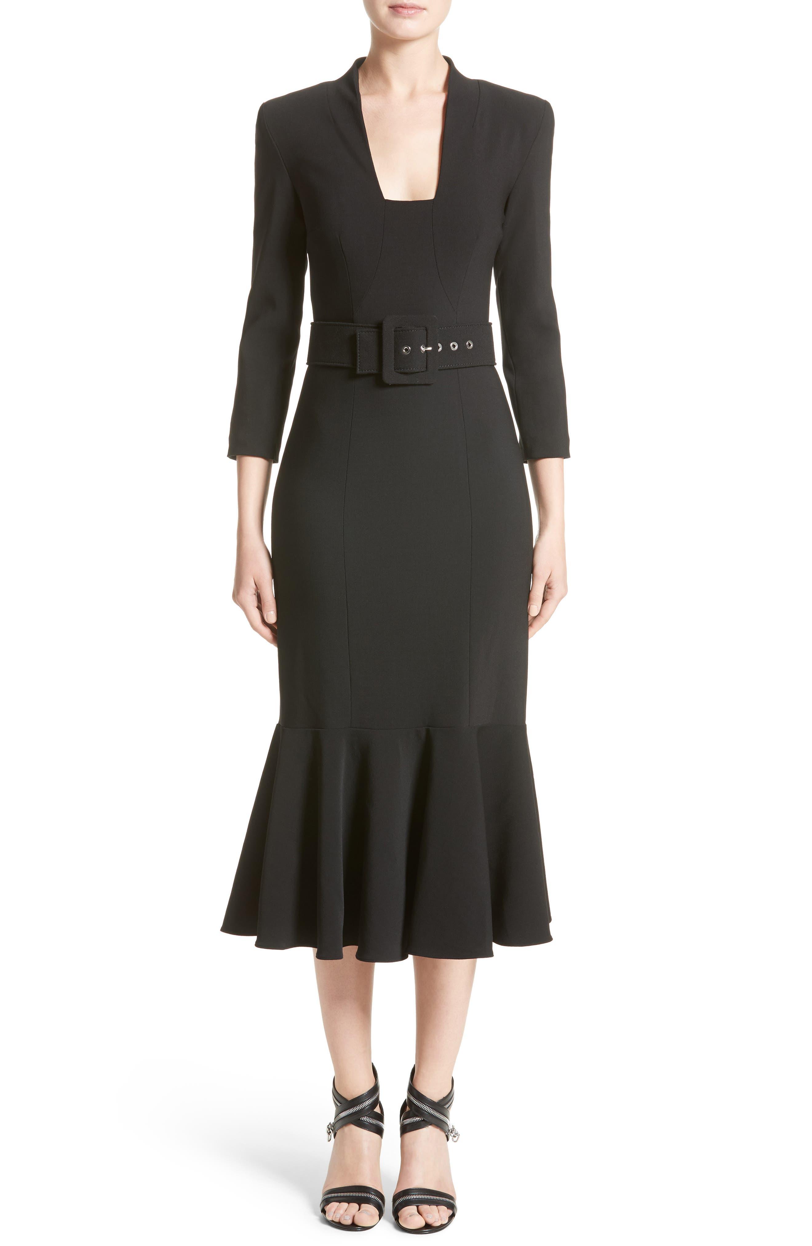 Stretch Pebble Crepe Bolero Sheath Dress,                             Main thumbnail 1, color,