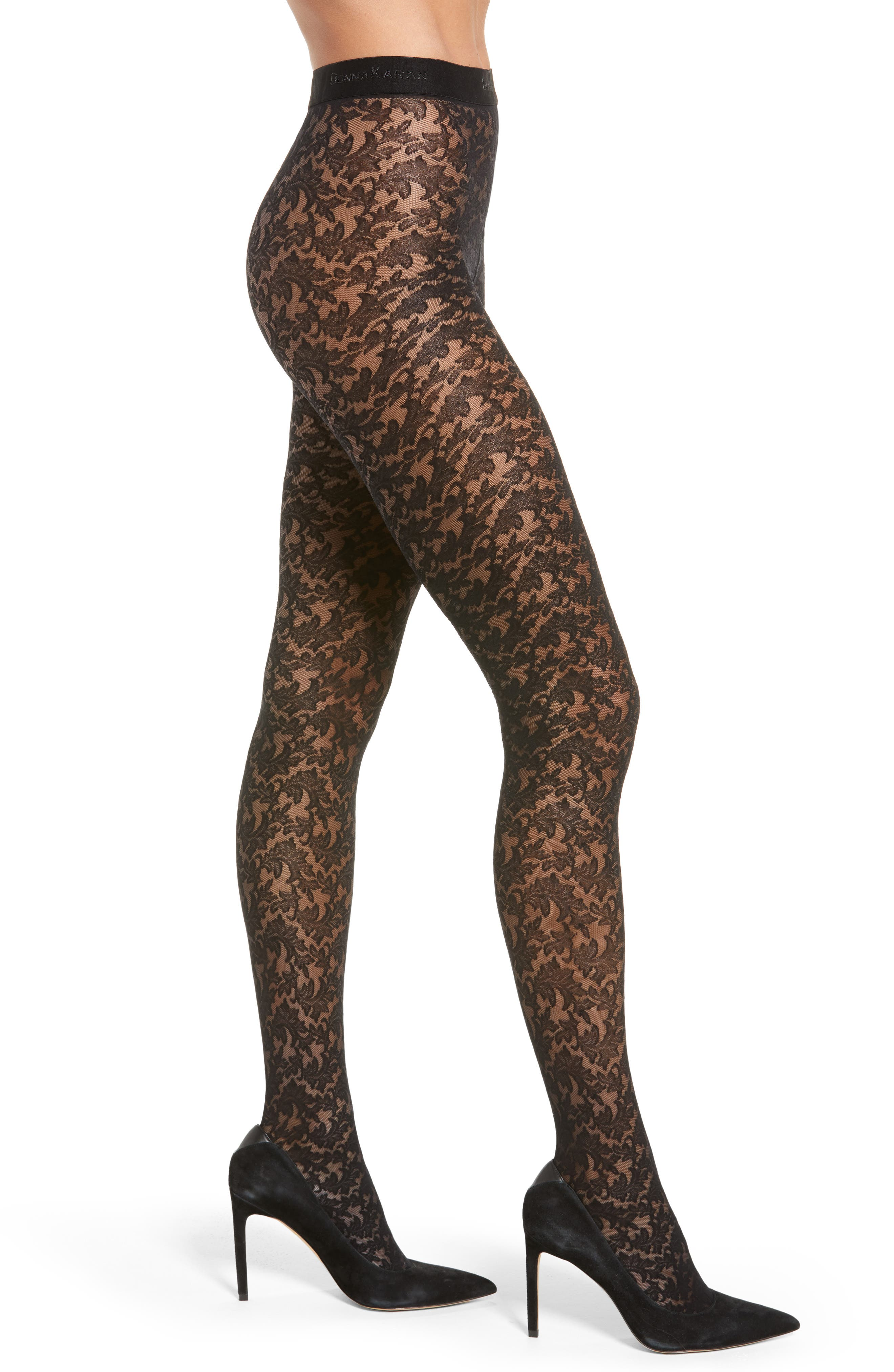 Signature Collection Lace Tights in Black from DKNY