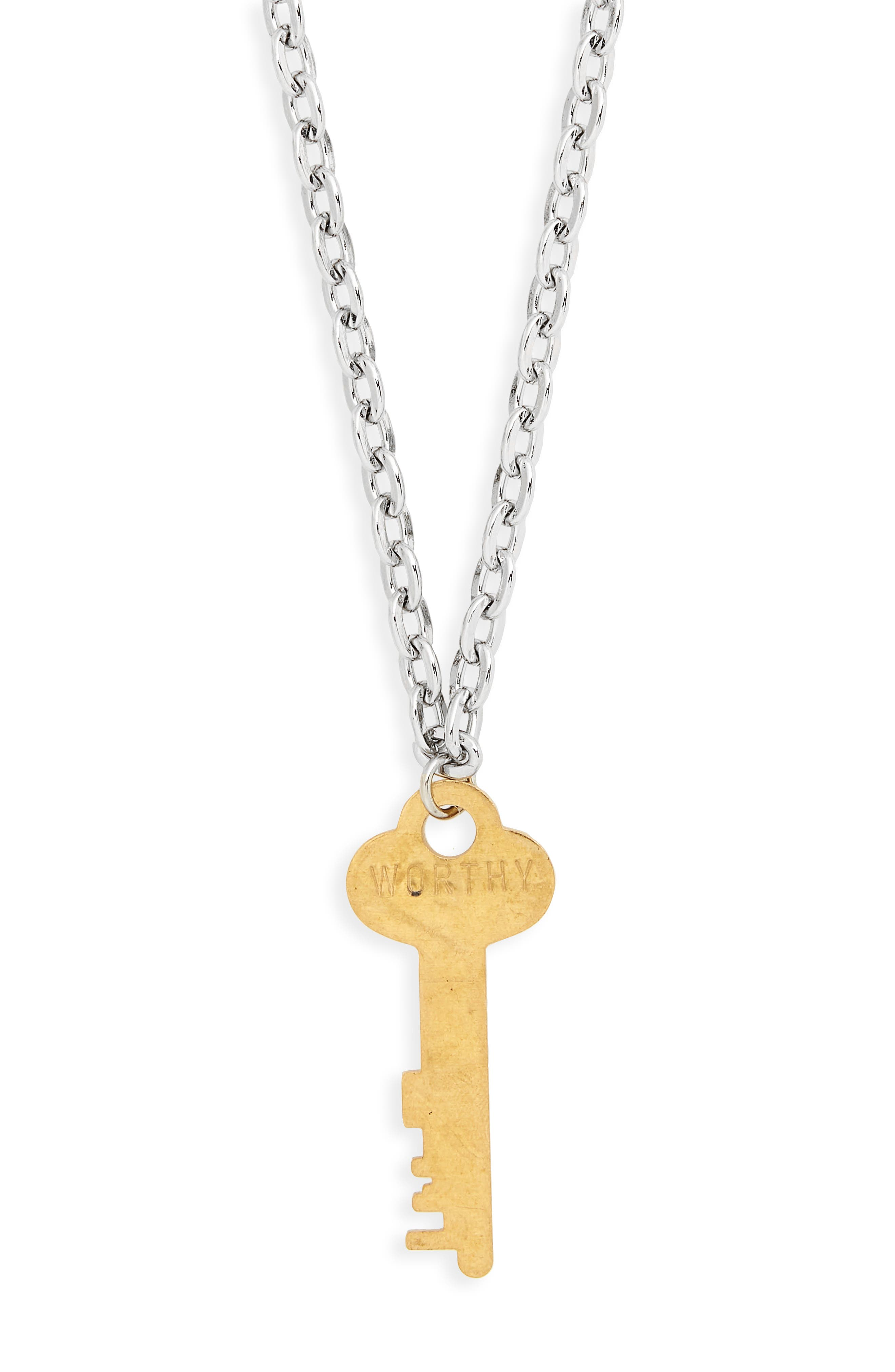 I Am Worthy Key Charm Necklace,                             Alternate thumbnail 5, color,