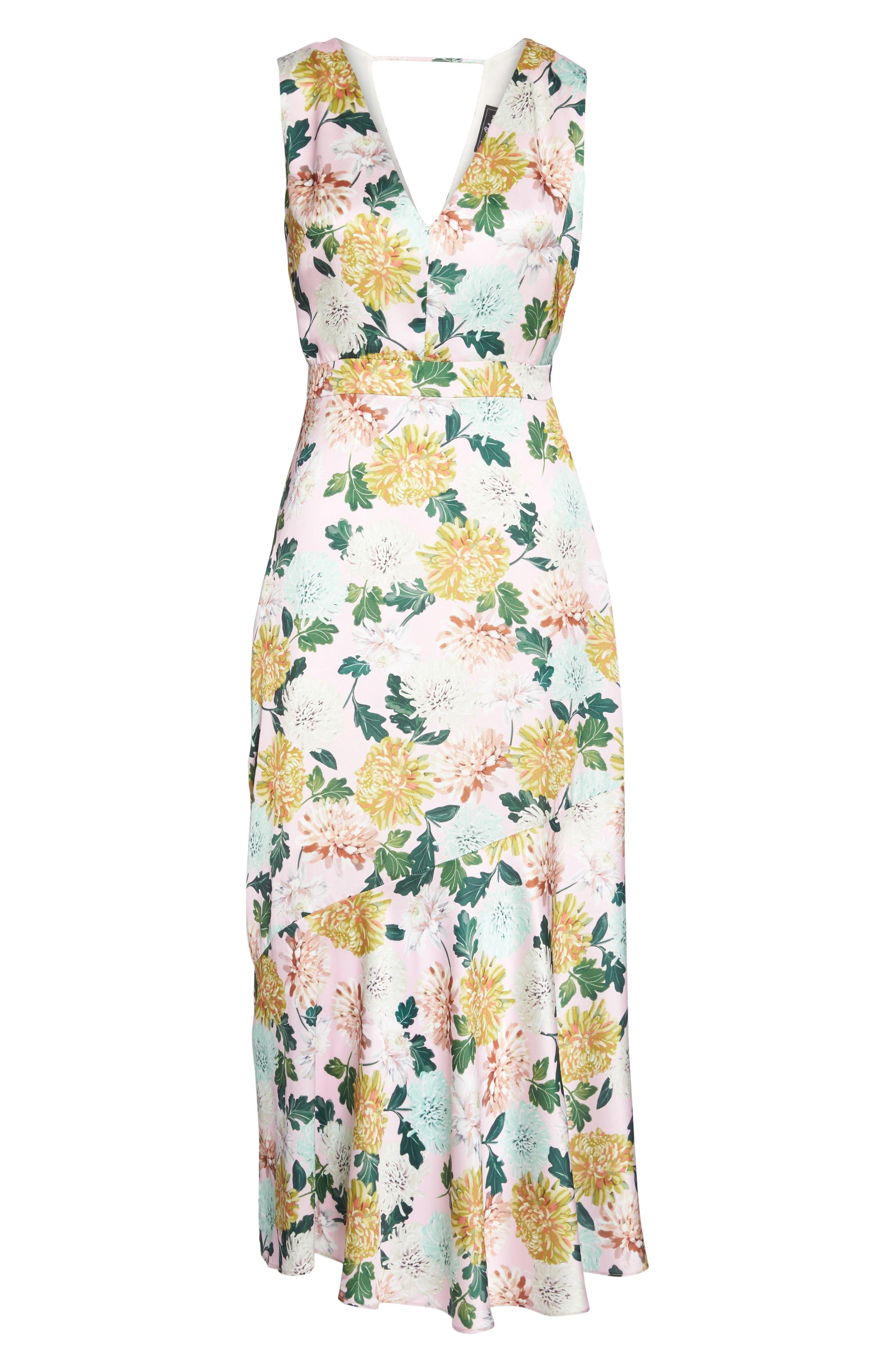 Vintage Floral Midi Dress,                             Alternate thumbnail 6, color,                             PINK MULTI