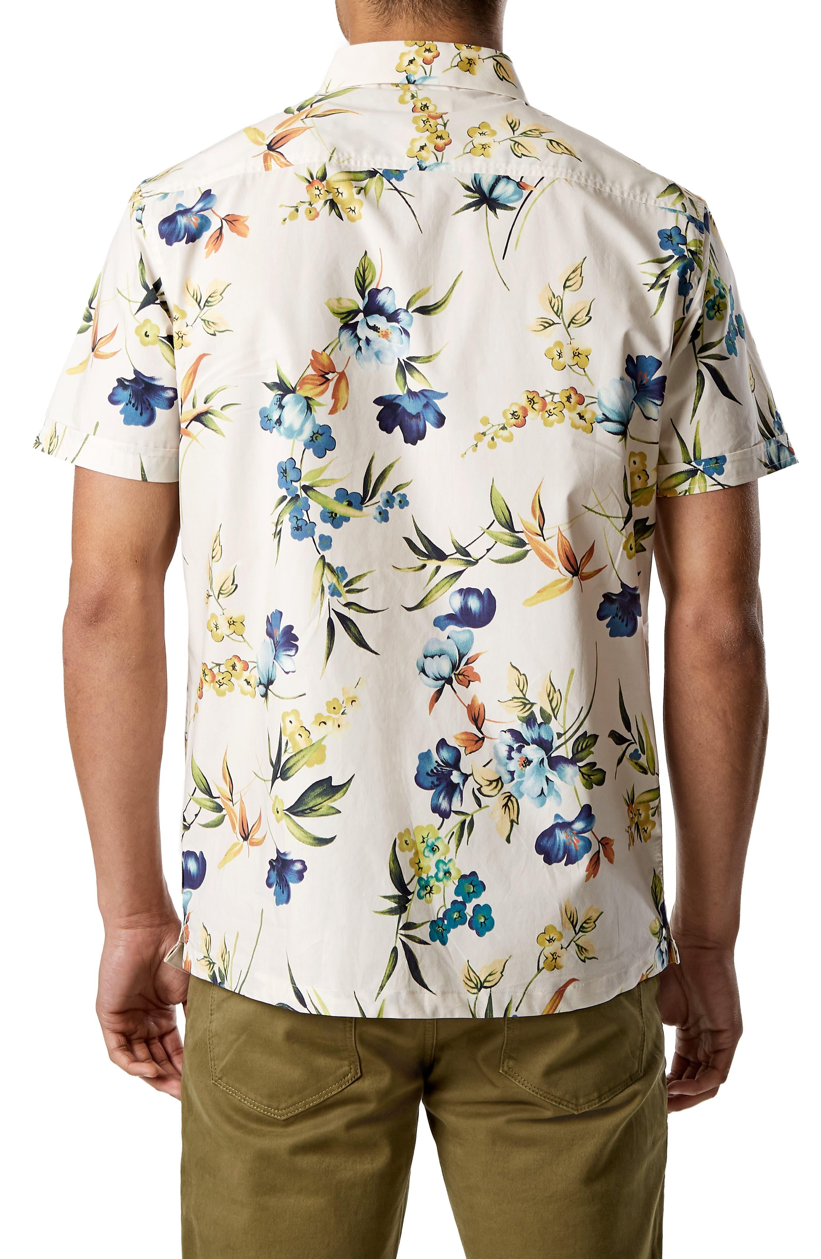 Sky Pilot Trim Fit Short Sleeve Sport Shirt,                             Alternate thumbnail 3, color,                             NATURAL