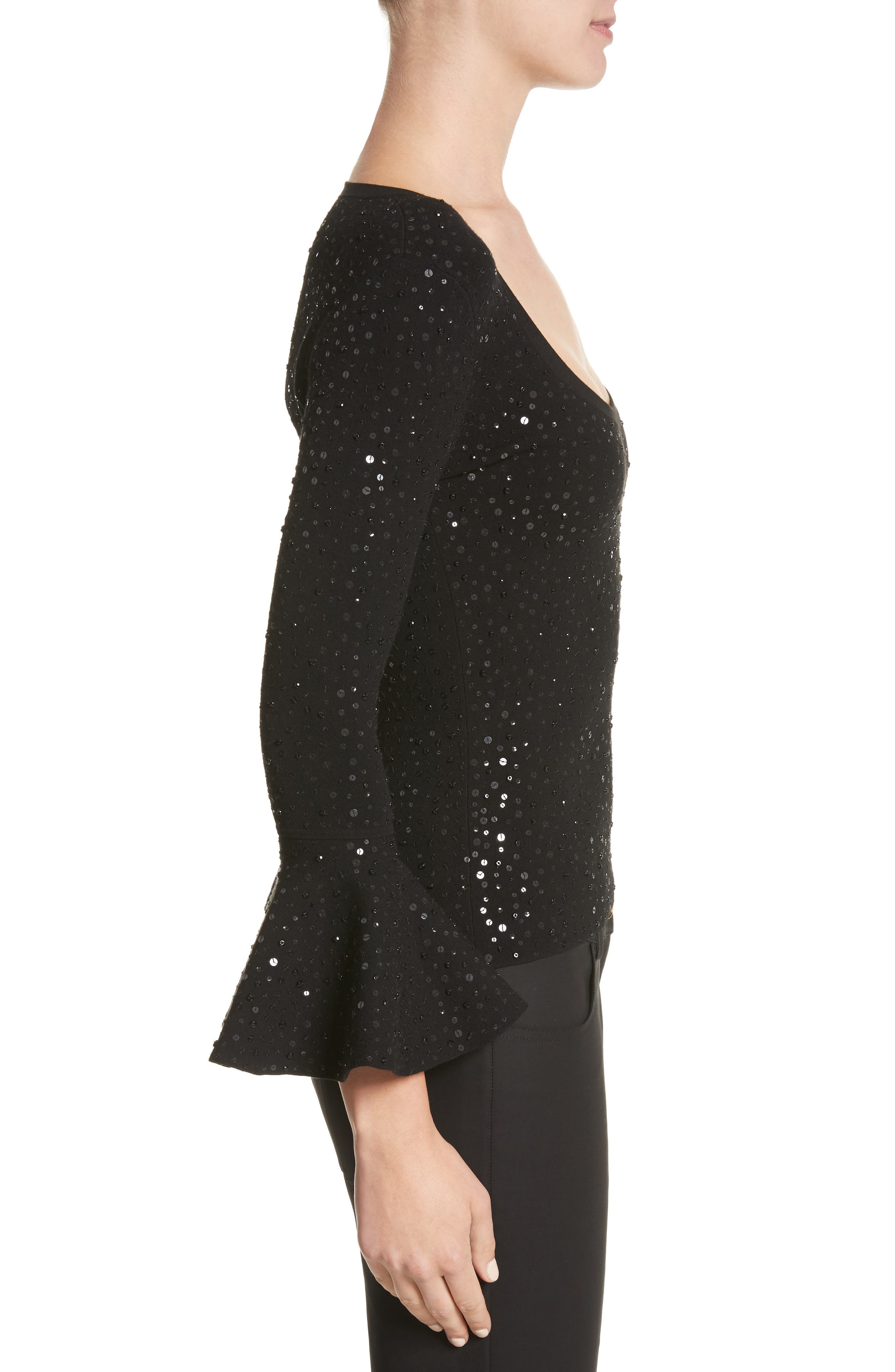 Sequin Bell Sleeve Top,                             Alternate thumbnail 3, color,                             001