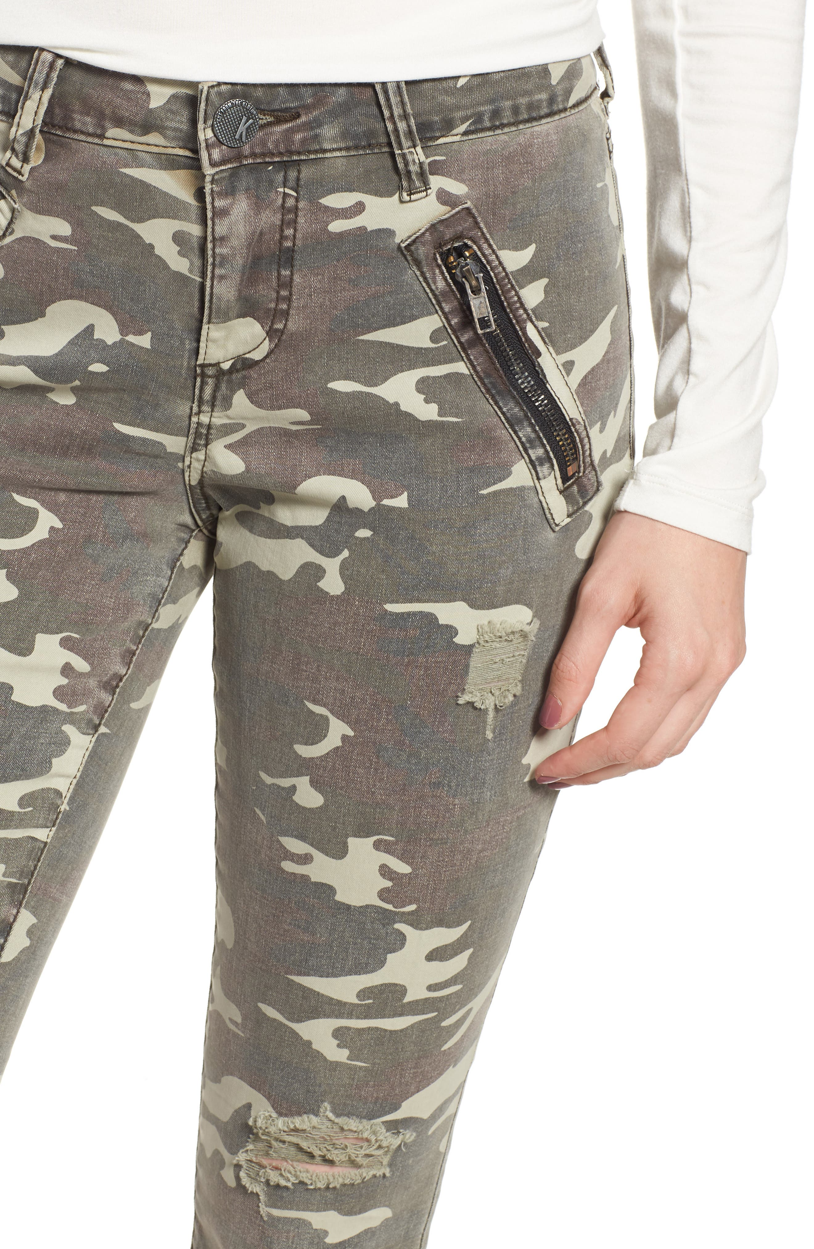 Connie Ankle Skinny Camo Jeans,                             Alternate thumbnail 4, color,                             OLIVE