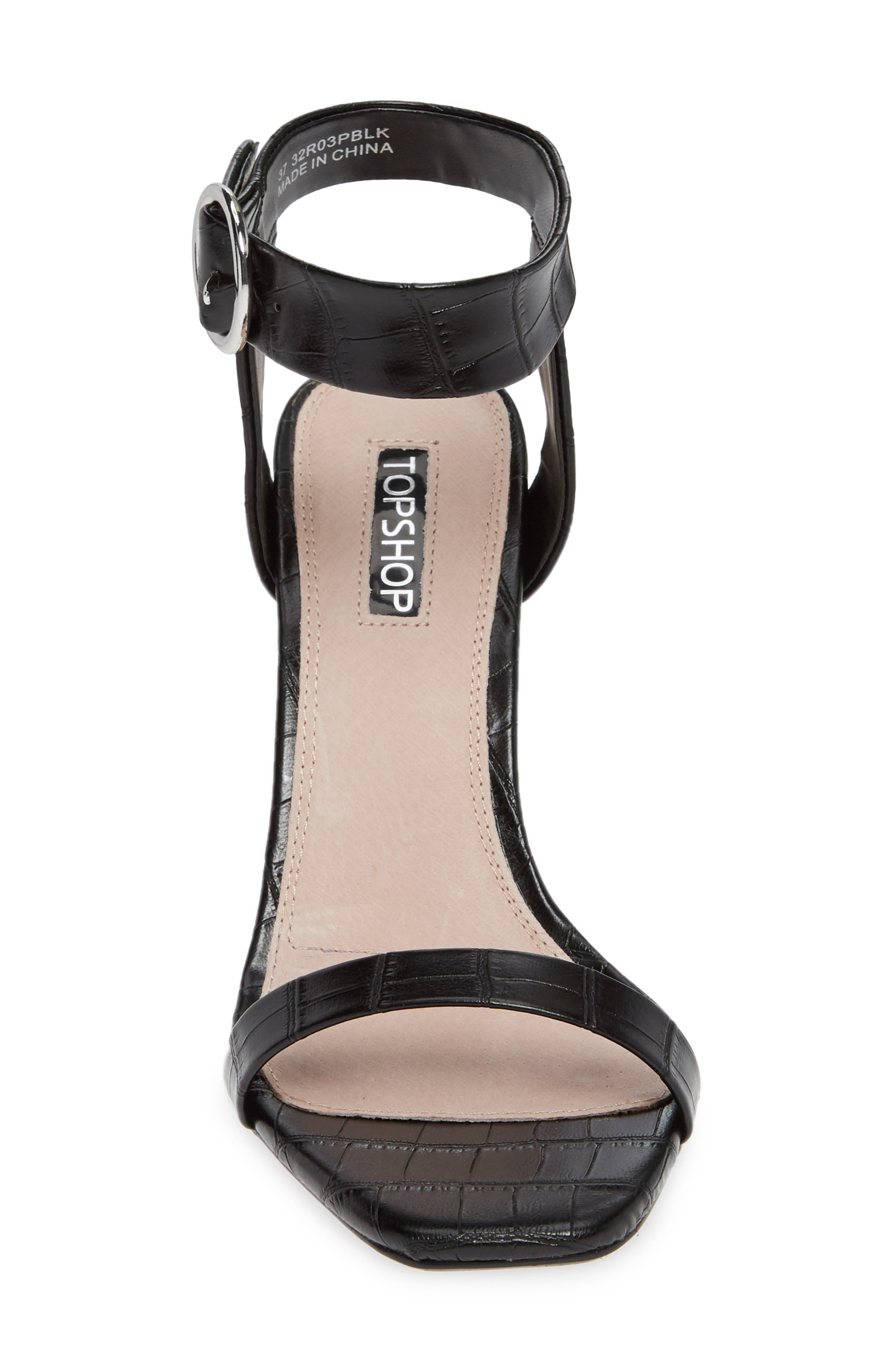Ria Ankle Cuff Sandal,                             Alternate thumbnail 4, color,                             BLACK