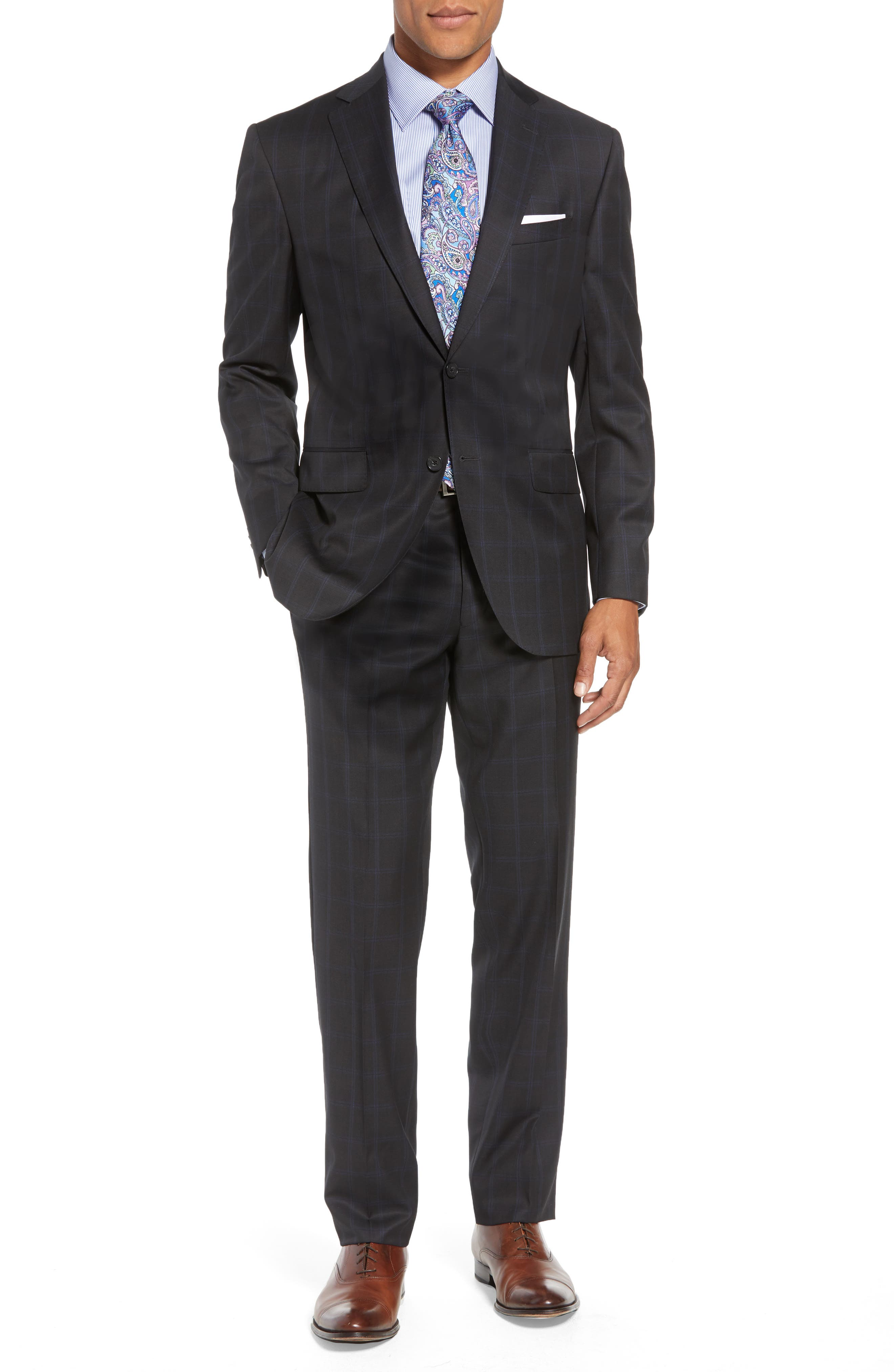 Ryan Classic Fit Windowpane Wool Suit,                         Main,                         color, CHARCOAL