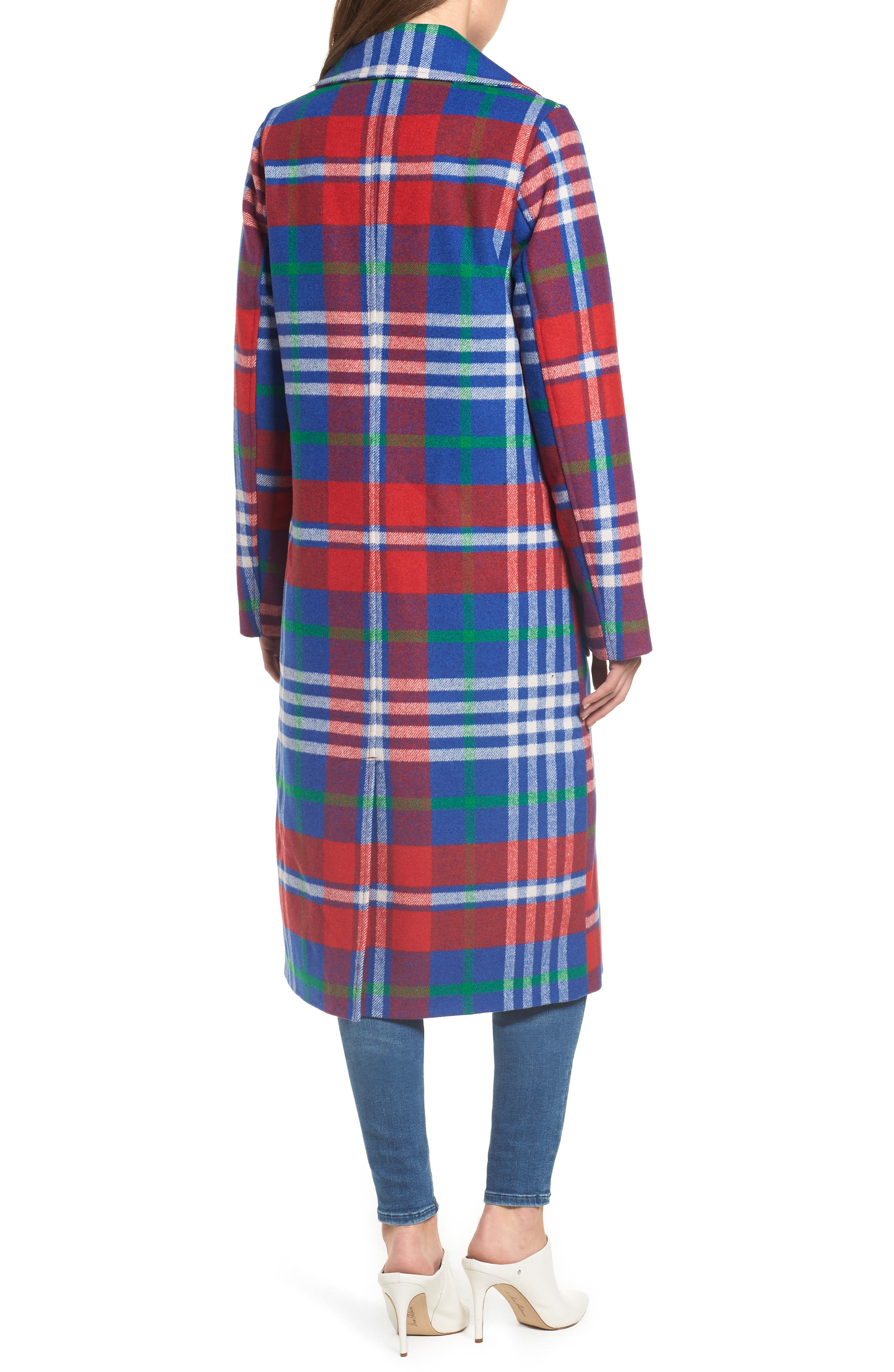 Long Plaid Coat,                             Alternate thumbnail 2, color,                             605