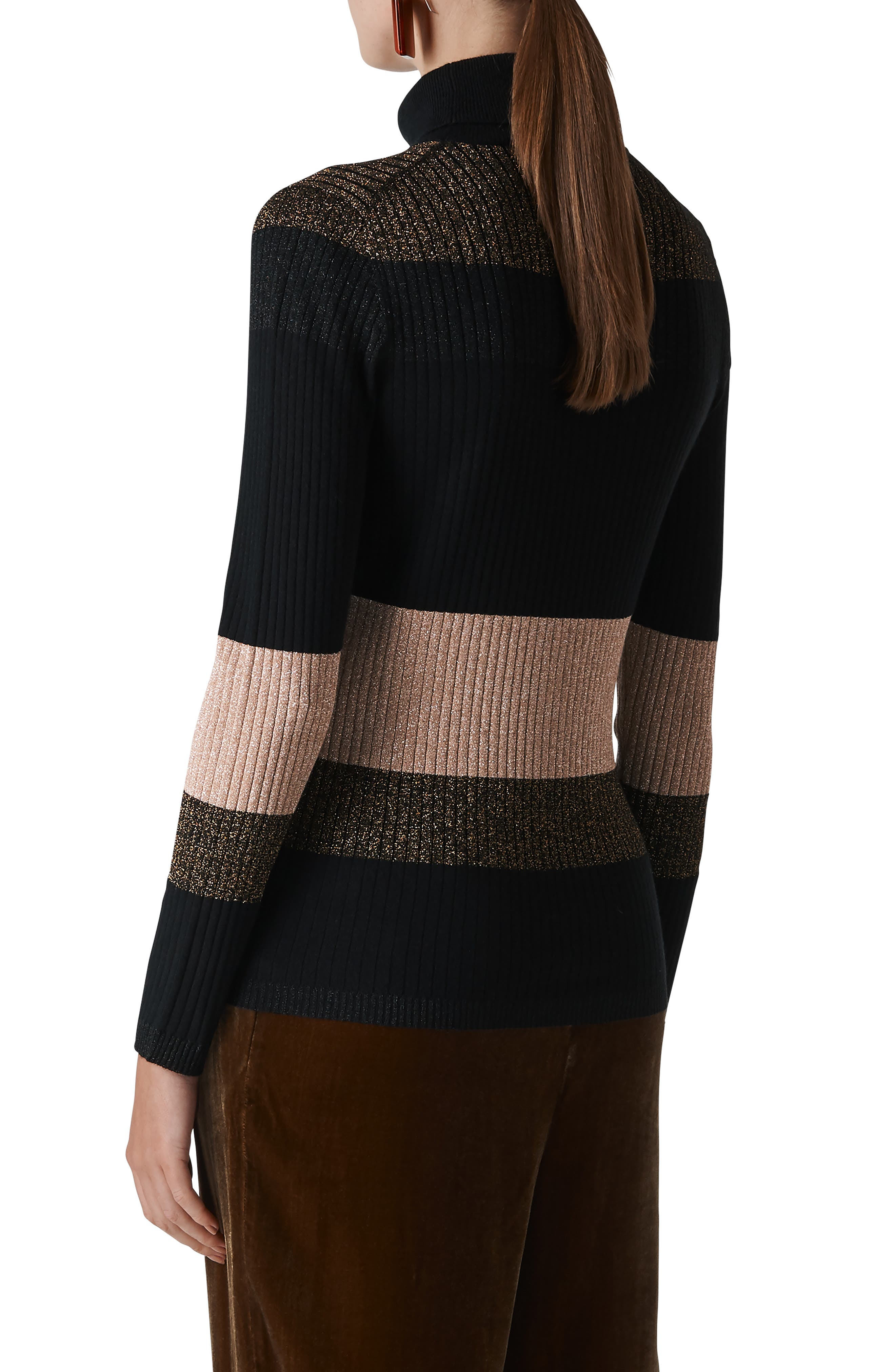 Wide Sparkle Stripe Sweater,                             Alternate thumbnail 2, color,                             001
