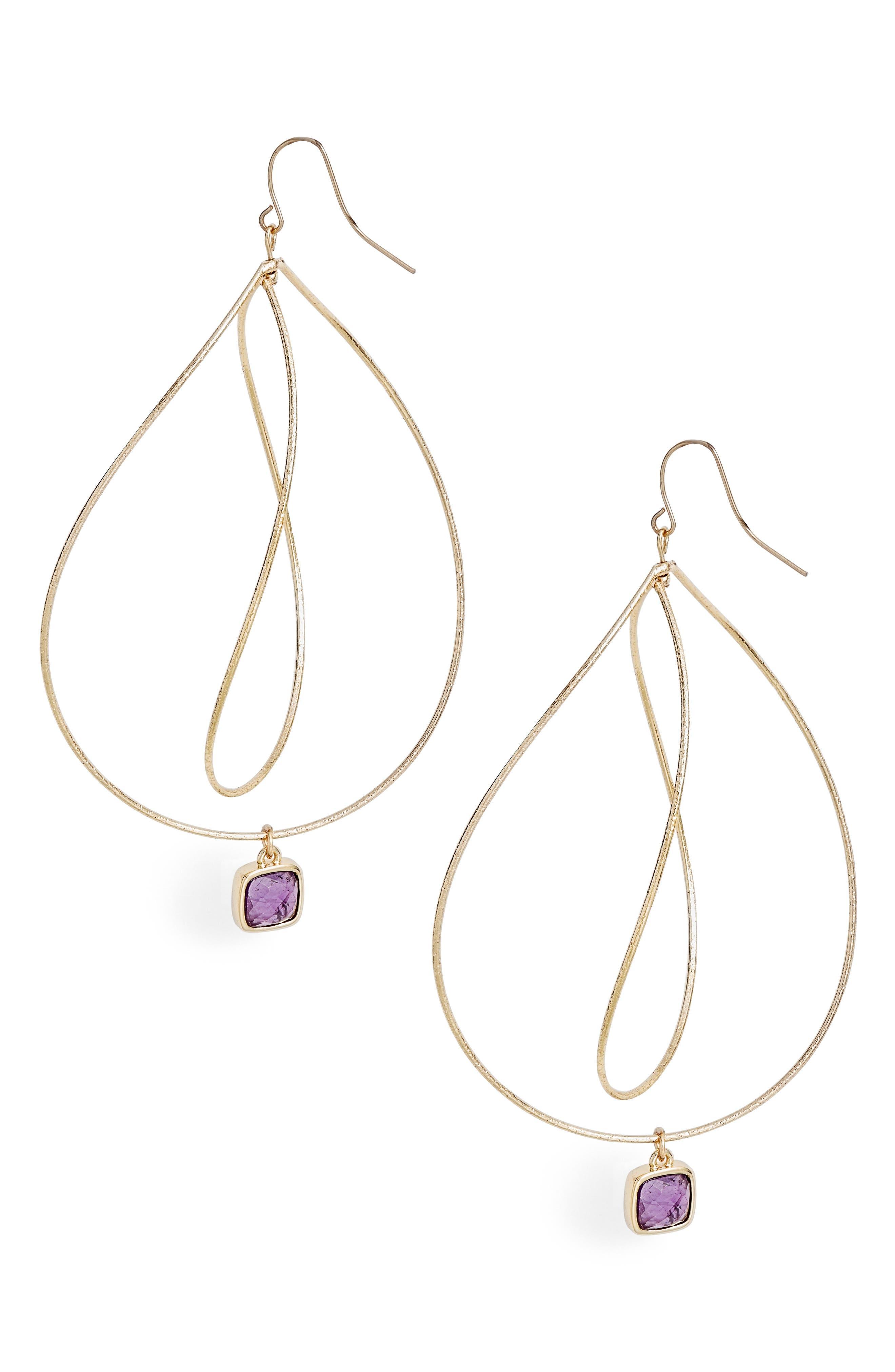 ELISE M. Viola Wave Crystal Drop Earrings in Gold/ Amethyst