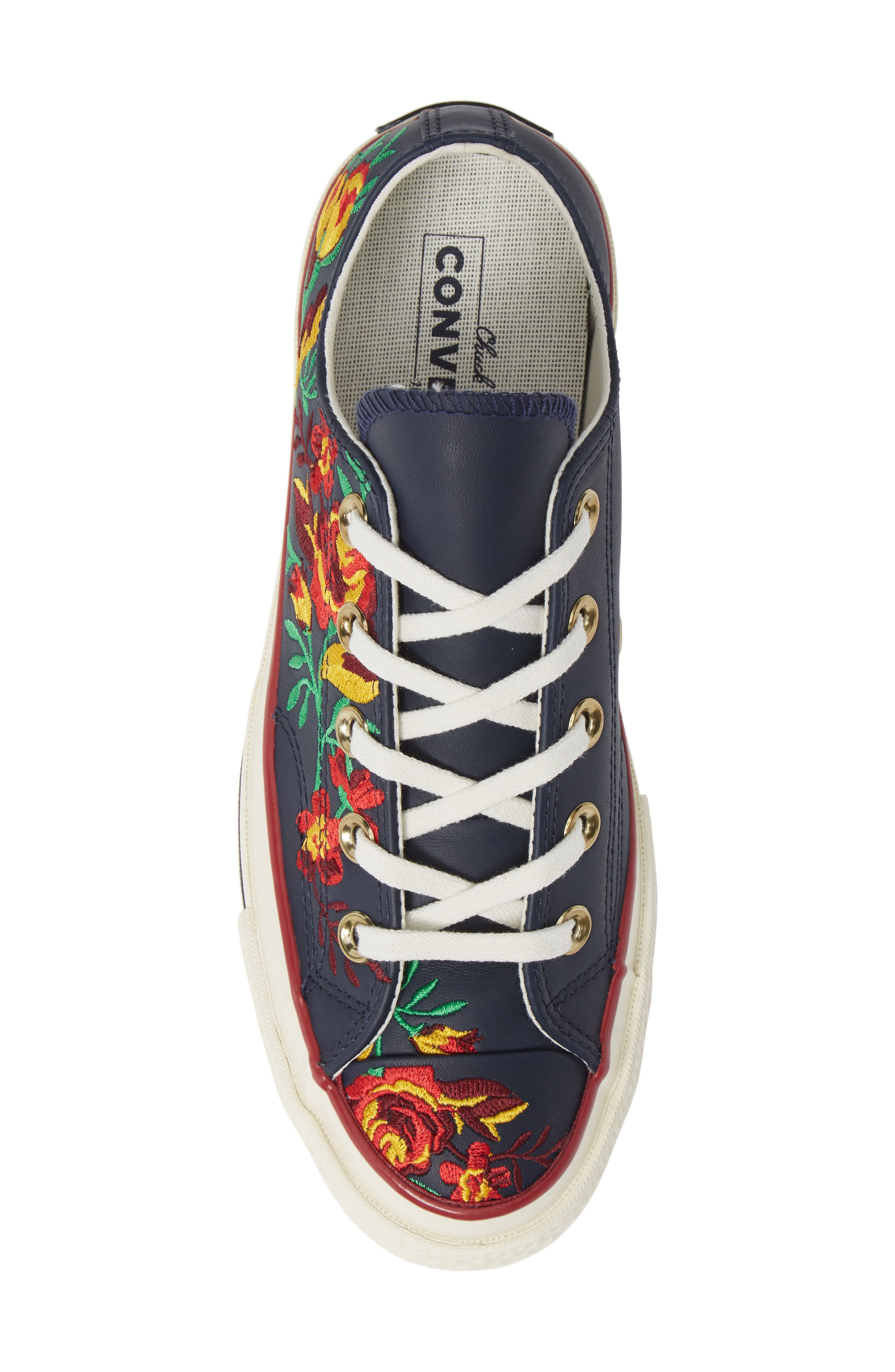 Chuck Taylor<sup>®</sup> All Star<sup>®</sup> Parkway Floral 70 Low Top Sneaker,                             Alternate thumbnail 5, color,                             OBSIDIAN/ CHERRY LEATHER