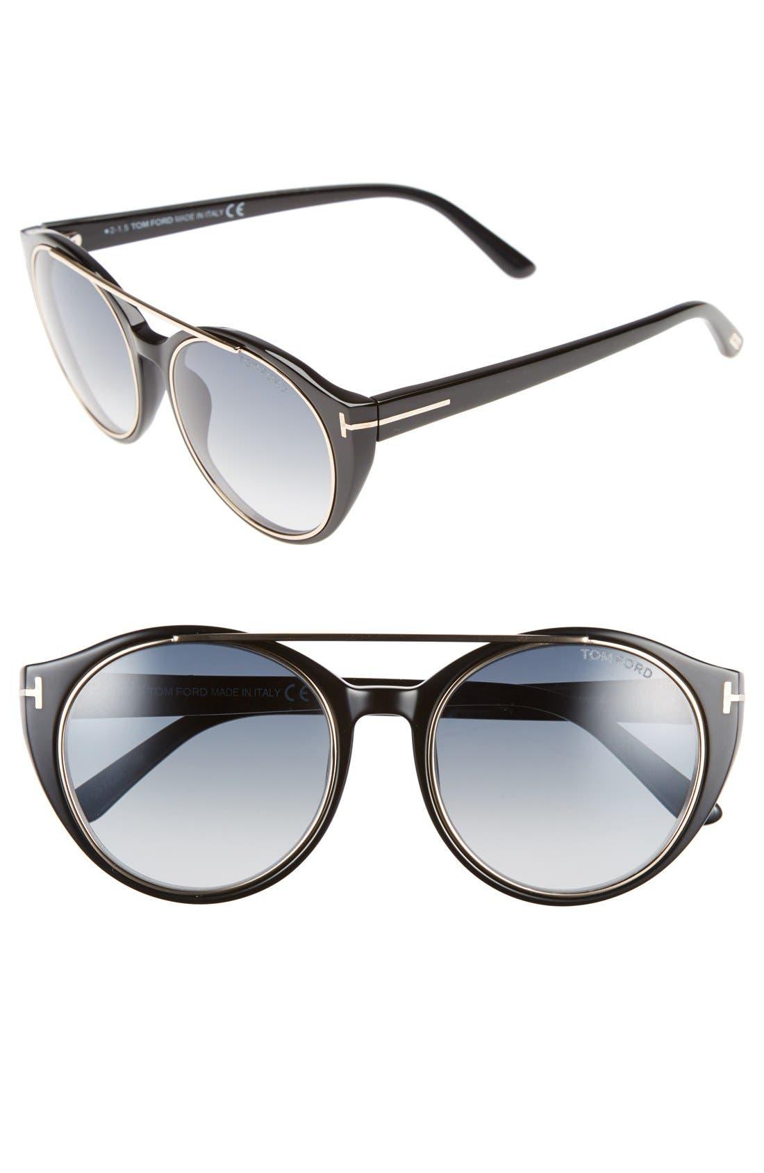 'Joan' 52mm Round Sunglasses,                             Main thumbnail 1, color,                             BLACK/ GOLD/ GRADIENT BLUE