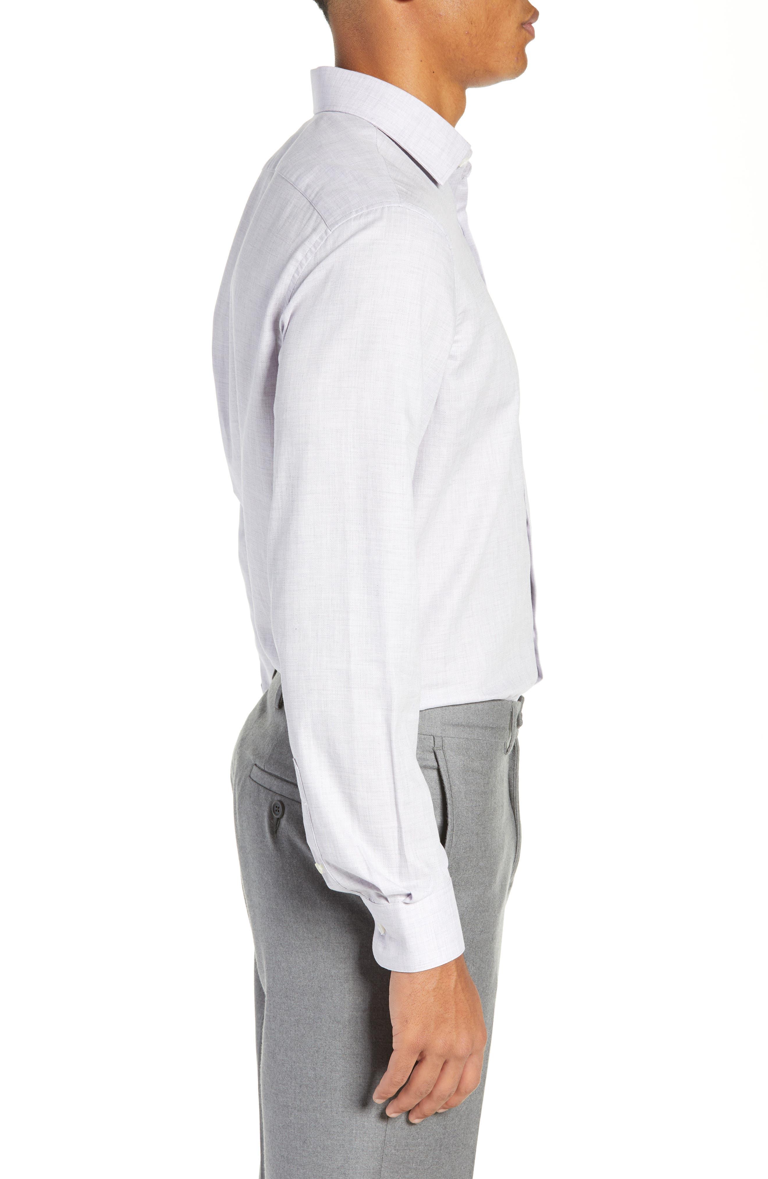 Regular Fit Solid Dress Shirt,                             Alternate thumbnail 4, color,                             HYDRANGEA