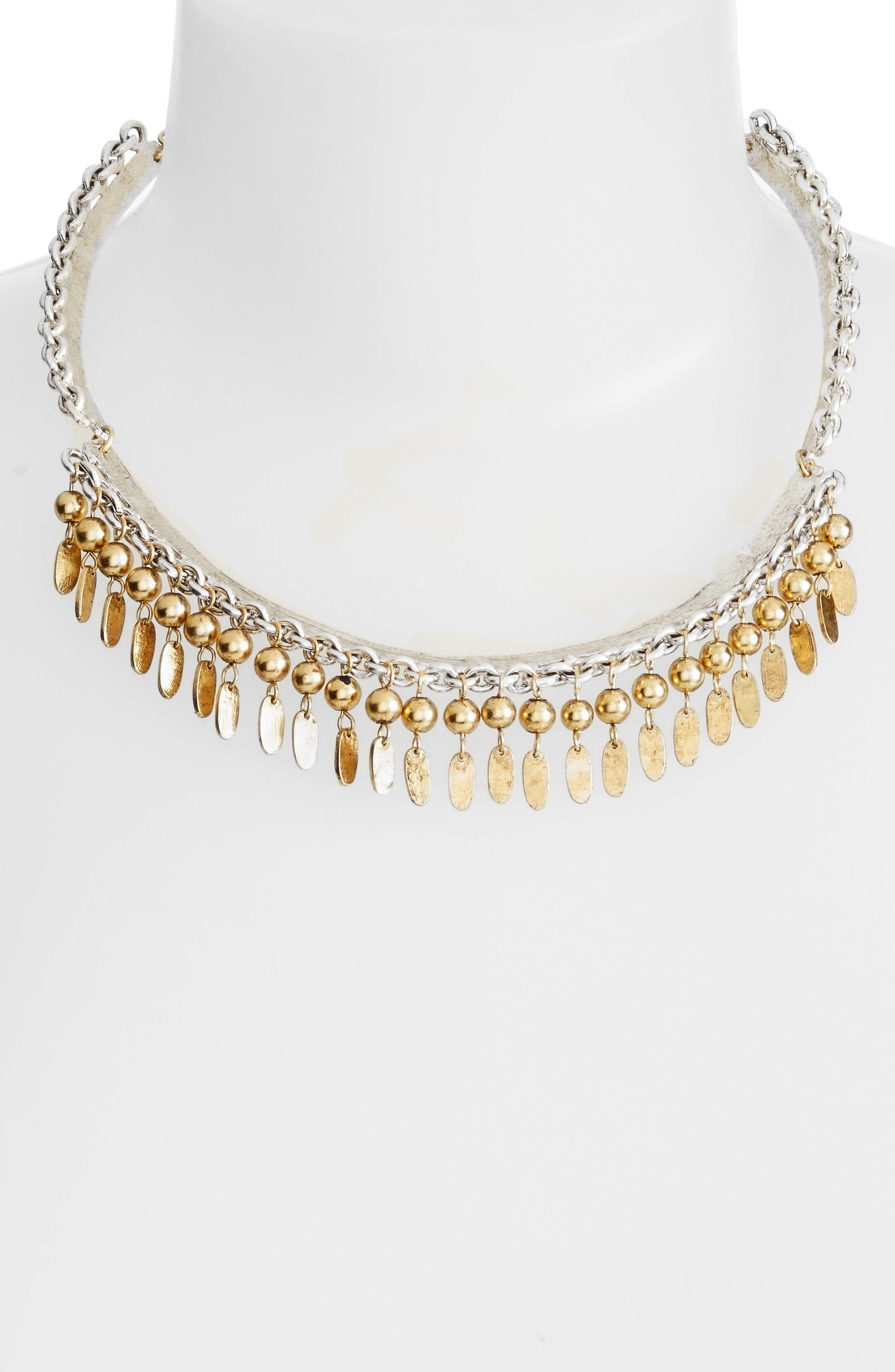 KARINE SULTAN,                             Fringe Collar Necklace,                             Alternate thumbnail 2, color,                             GOLD/SILVER MIX