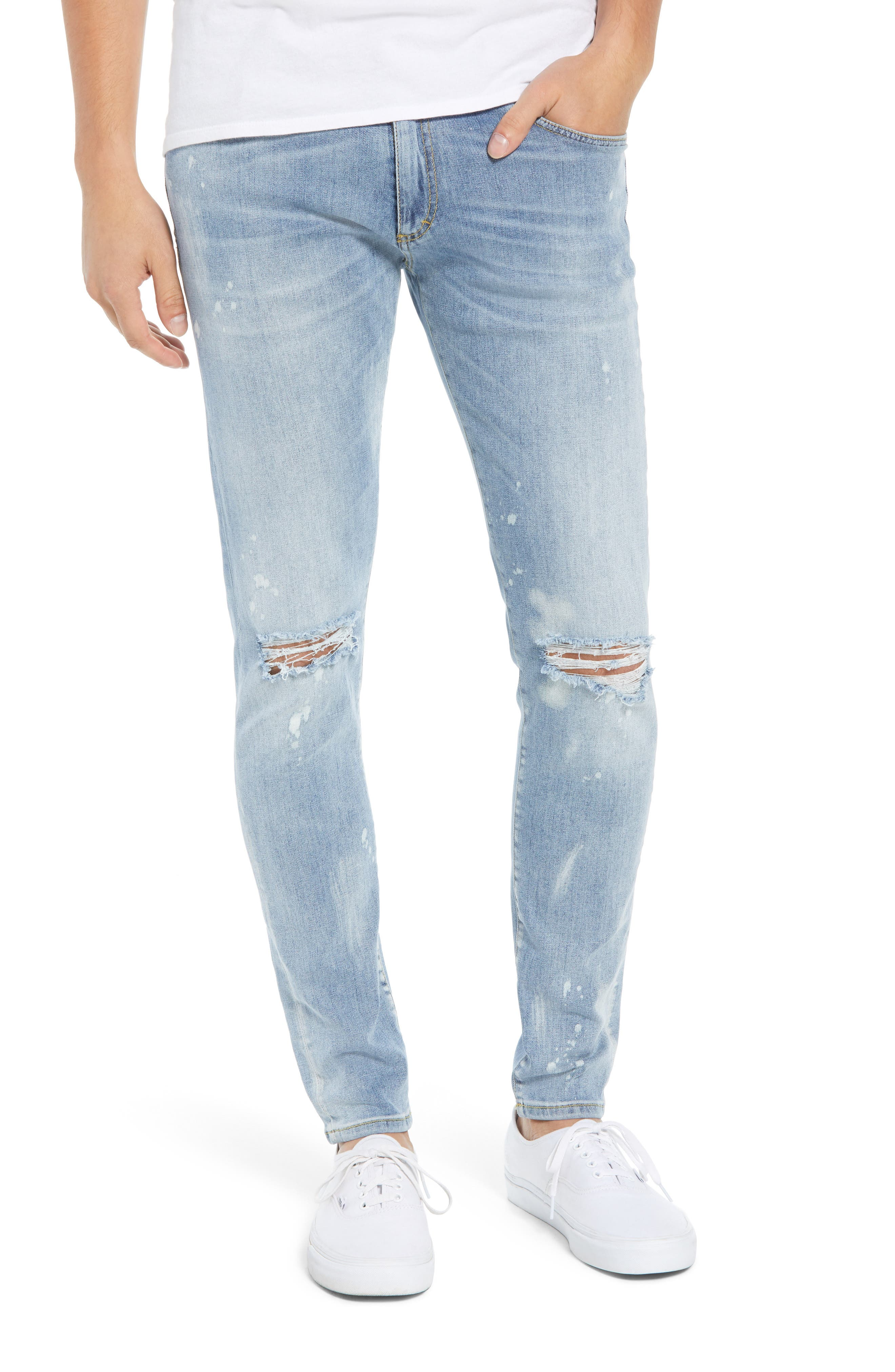 Destroyer Ripped Slim Fit Jeans,                             Main thumbnail 1, color,                             BLUE