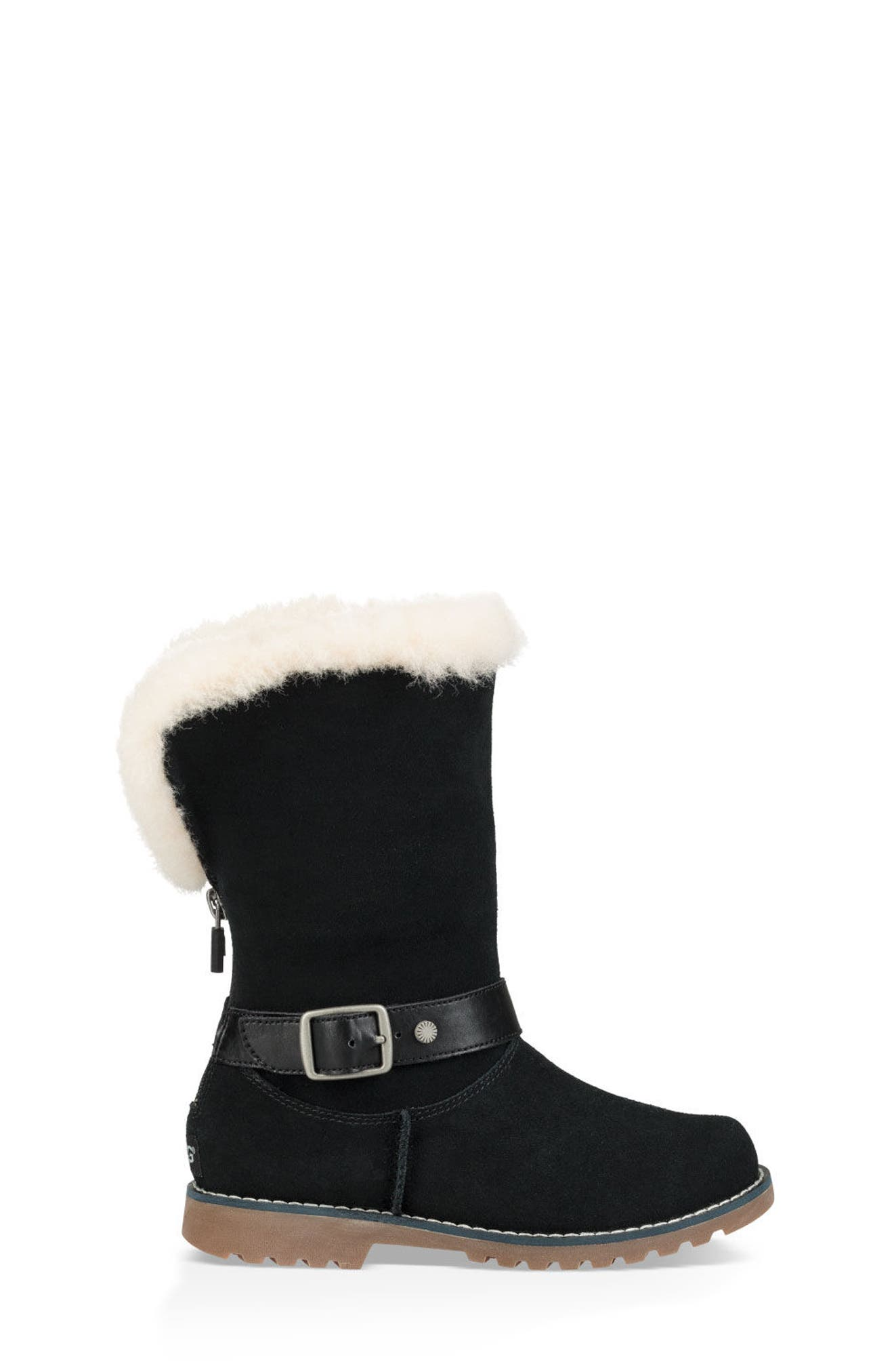 Nessa Genuine Shearling Boot,                             Alternate thumbnail 4, color,                             BLACK