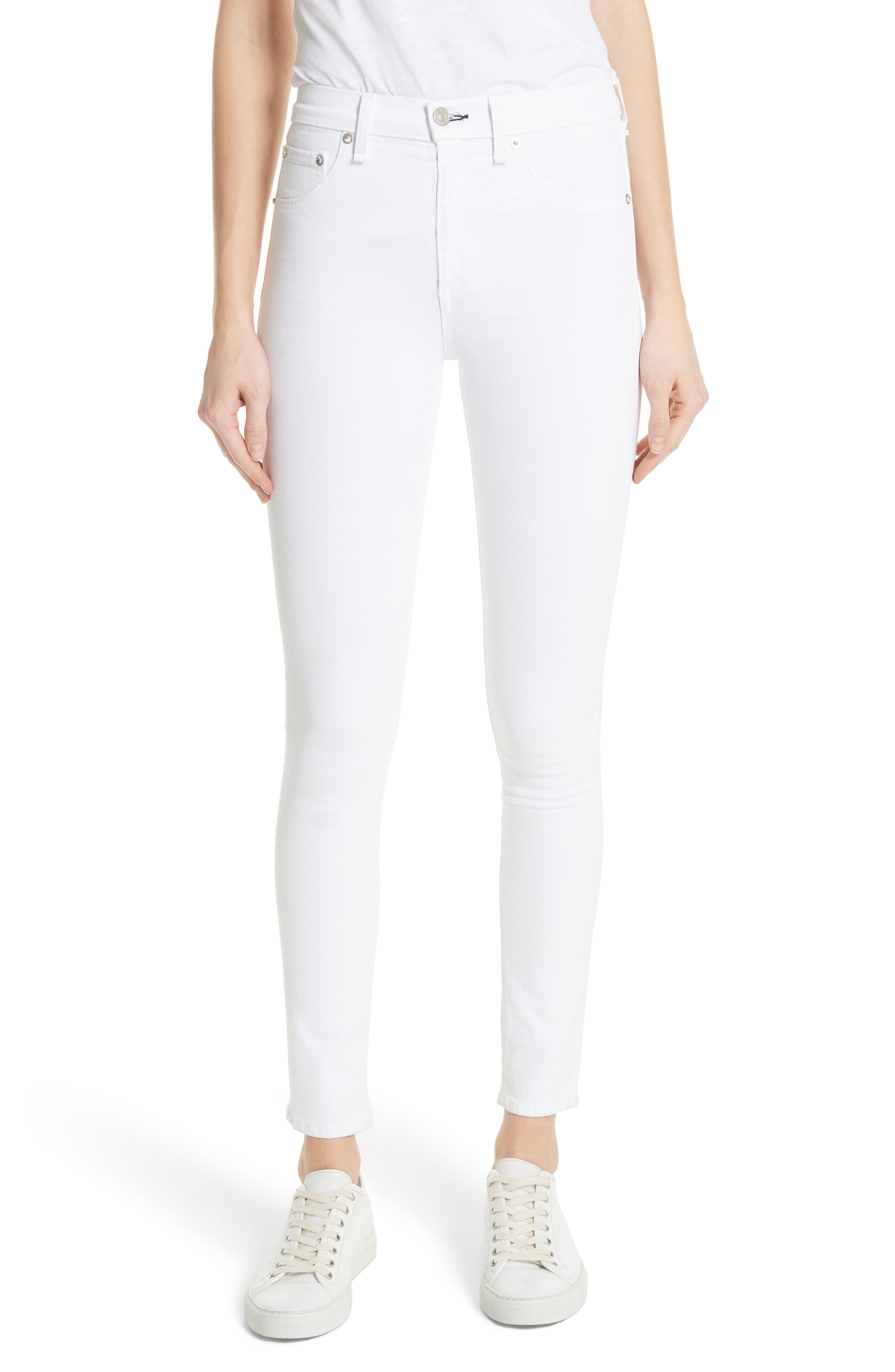 High Waist Skinny Jeans,                             Main thumbnail 1, color,                             BLANC