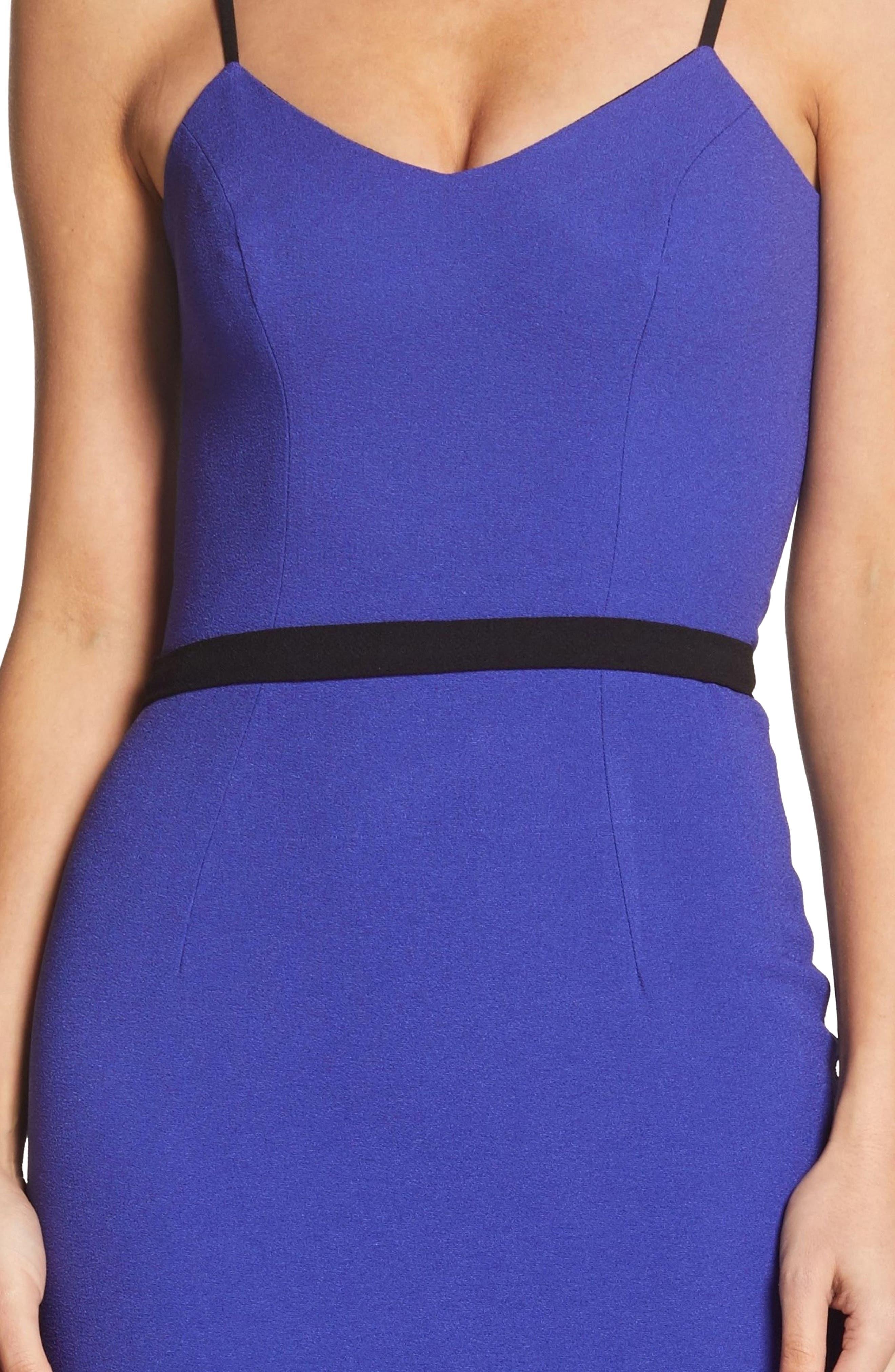 Emma Spaghetti Strap Body-Con Dress,                             Alternate thumbnail 4, color,                             BLUE/ VIOLET