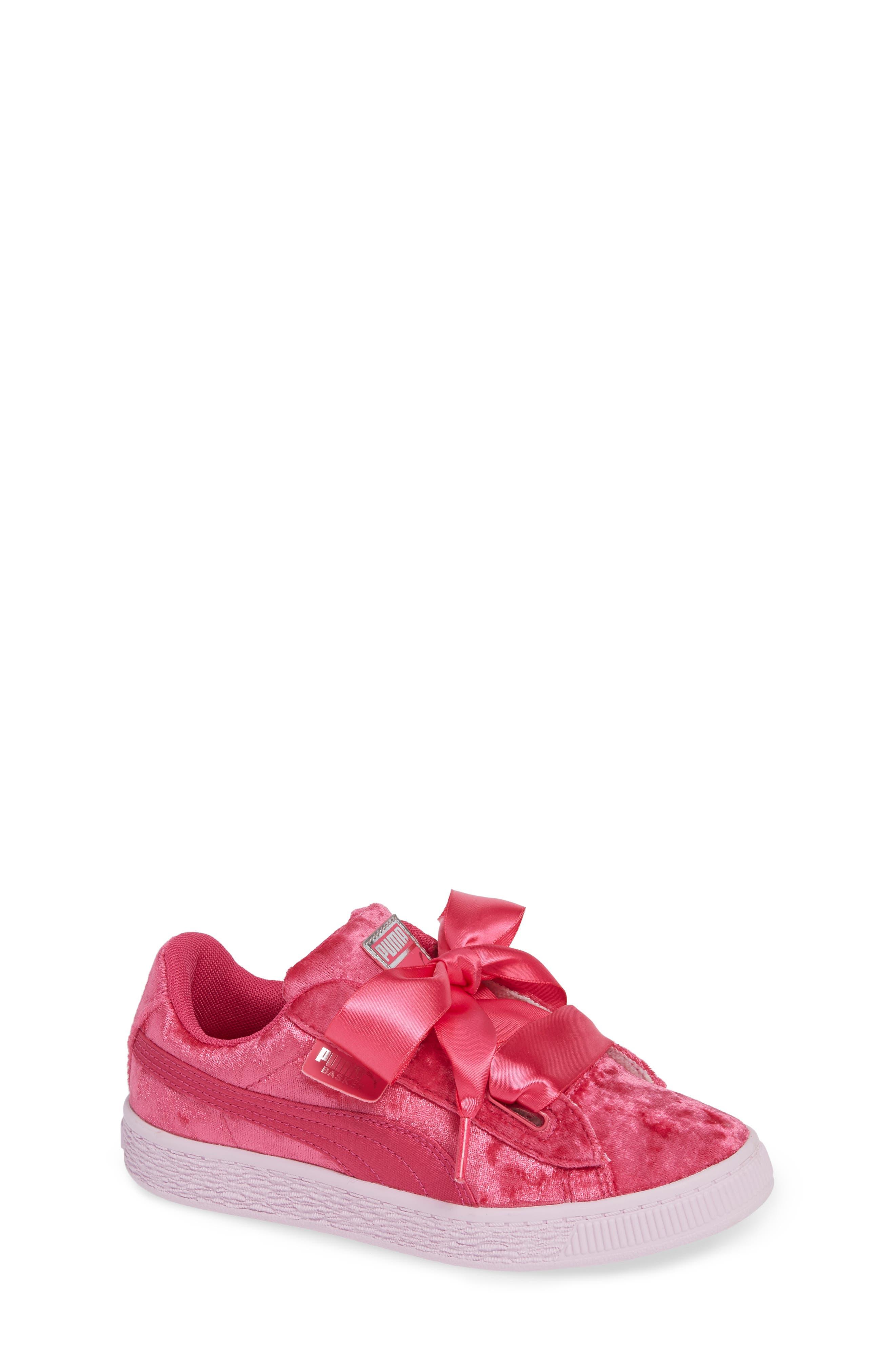 Basket Heart Sneaker,                             Main thumbnail 1, color,                             BEETROOT PURPLE-PUMA SILVER