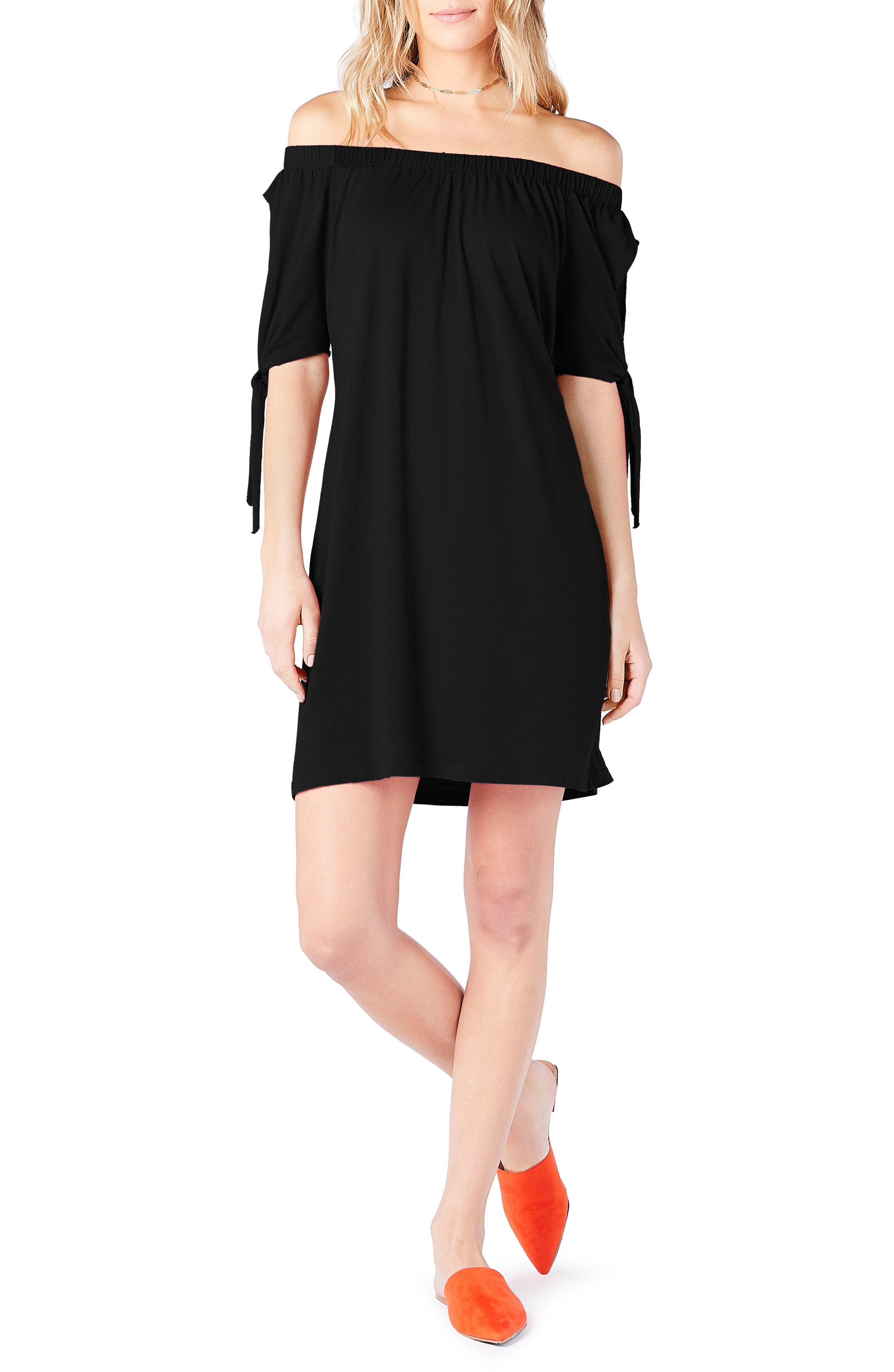 Off the Shoulder Dress,                         Main,                         color, BLACK