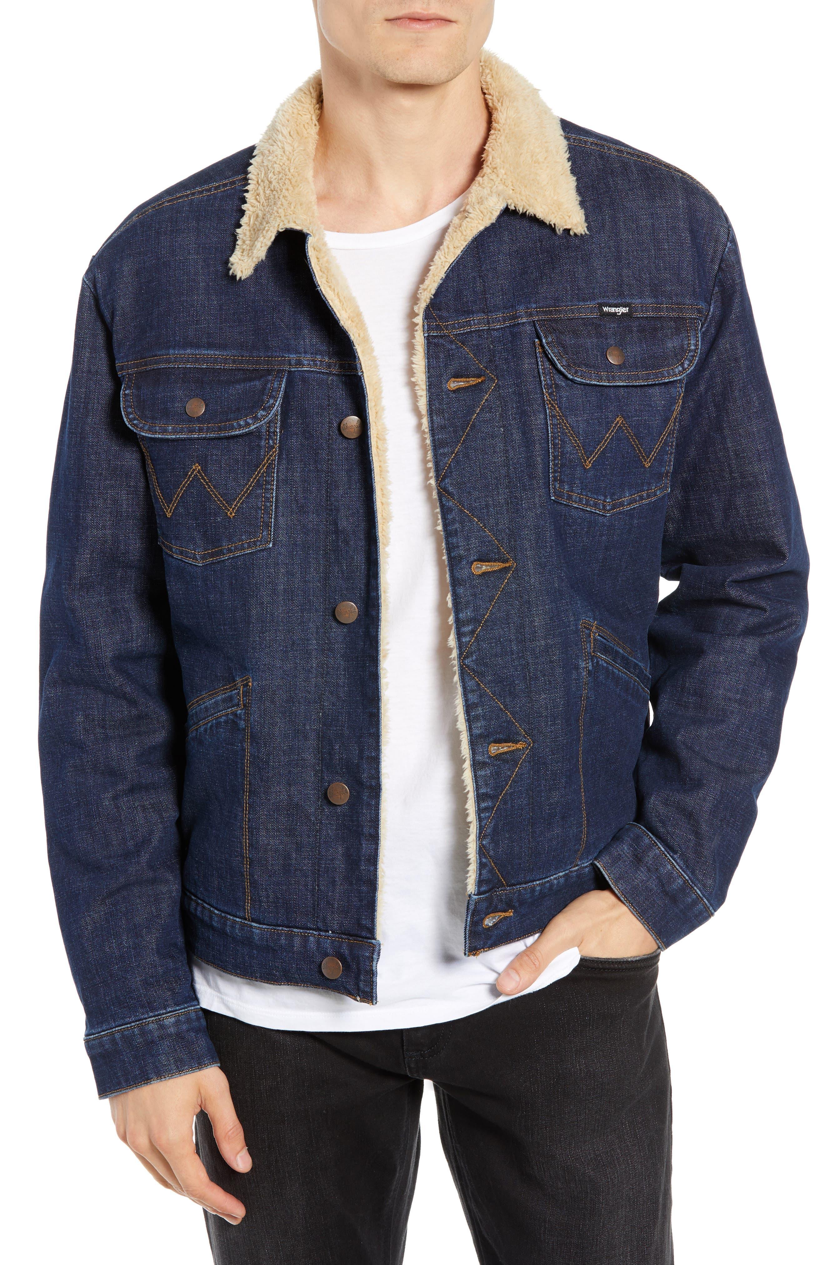 WRANGLER,                             Heritage Fleece Lined Denim Jacket,                             Main thumbnail 1, color,                             DARK