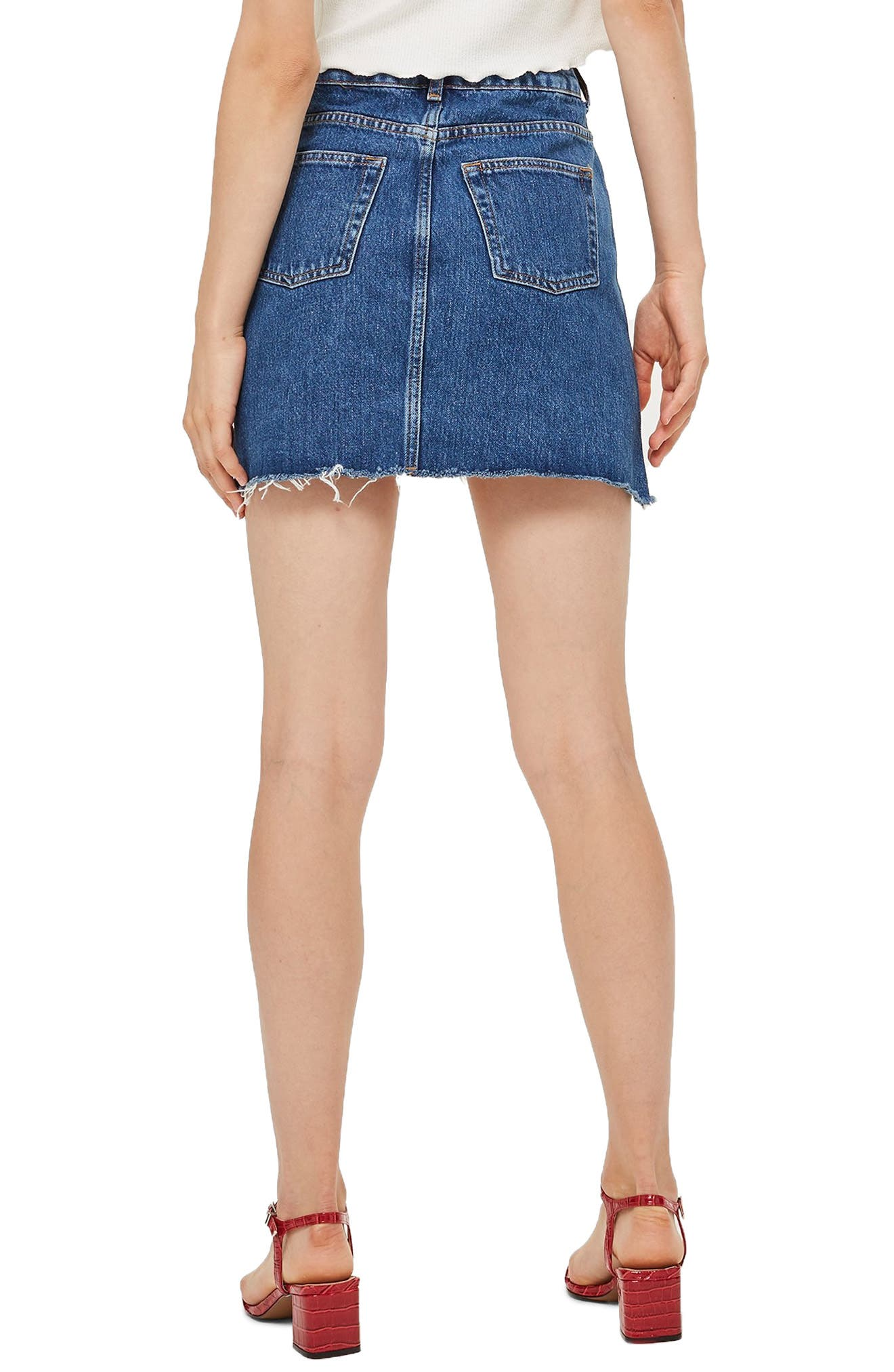 TOPSHOP,                             Step Hem Denim Skirt,                             Alternate thumbnail 2, color,                             MID DENIM