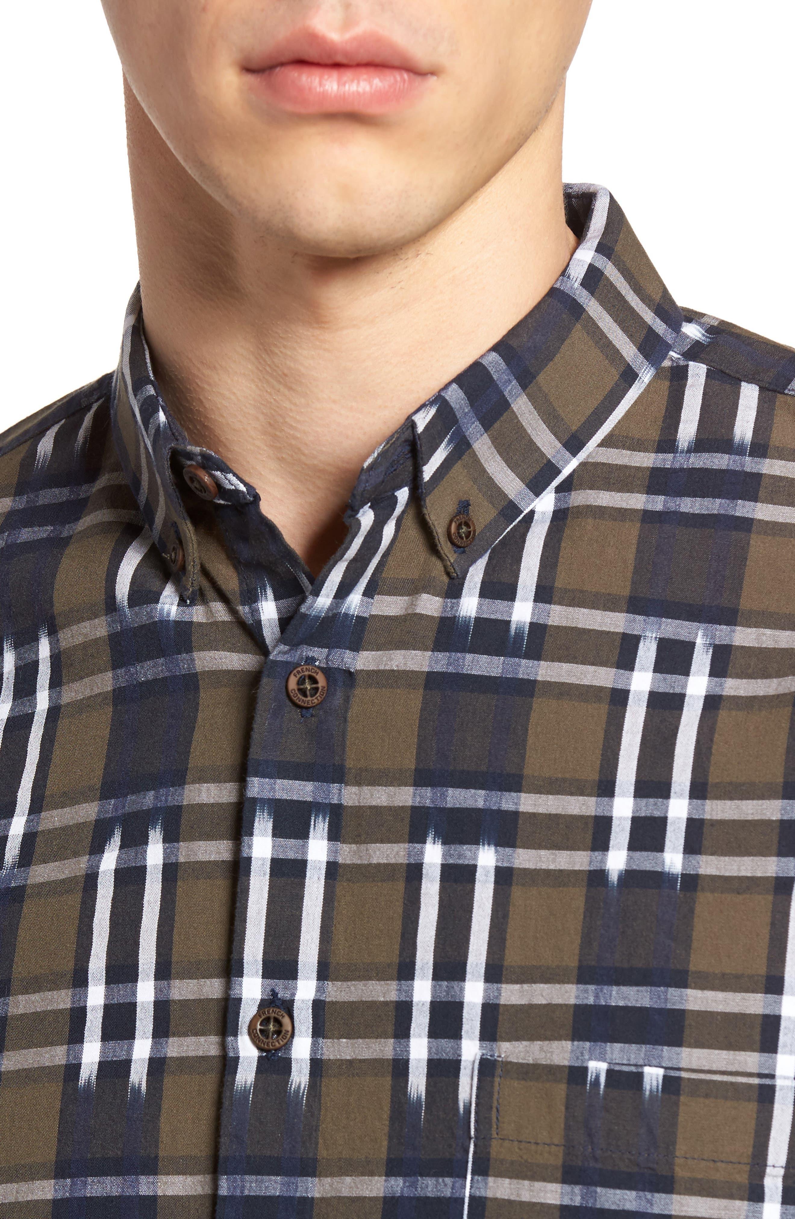 Slim Fit Ikat Check Sport Shirt,                             Alternate thumbnail 4, color,                             250