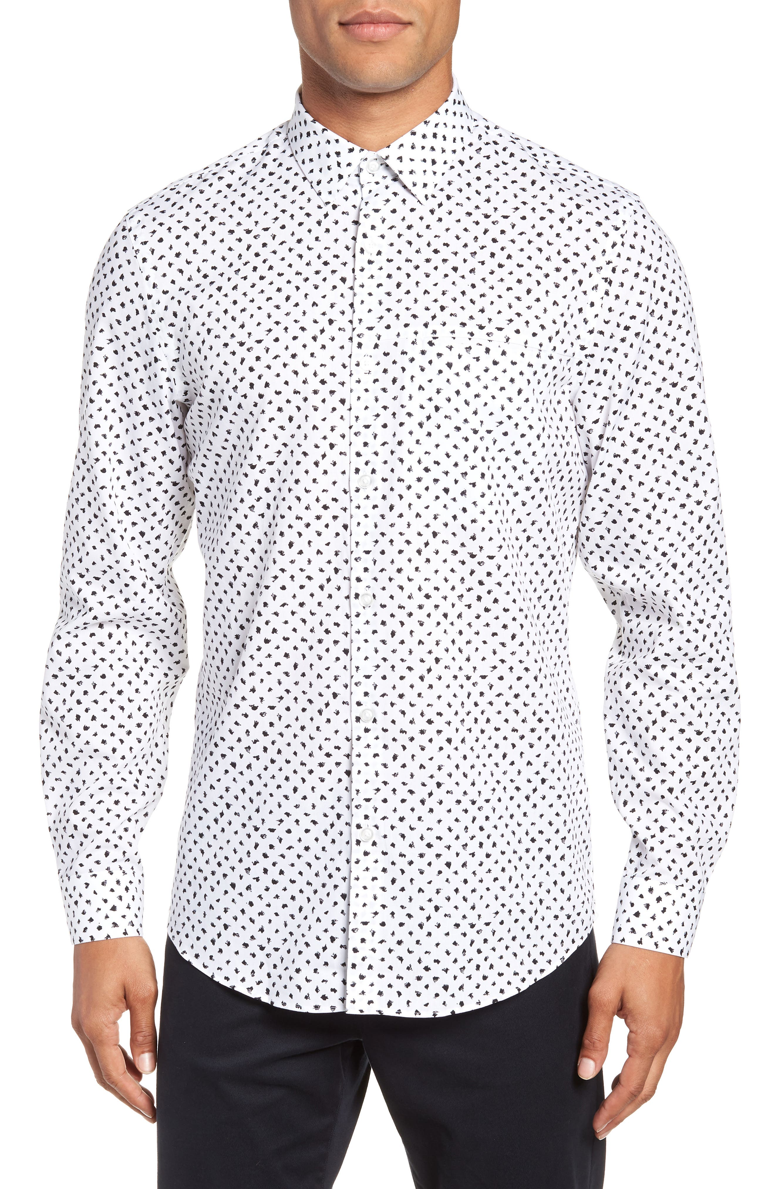 Non-Iron Print Sport Shirt,                         Main,                         color, 050