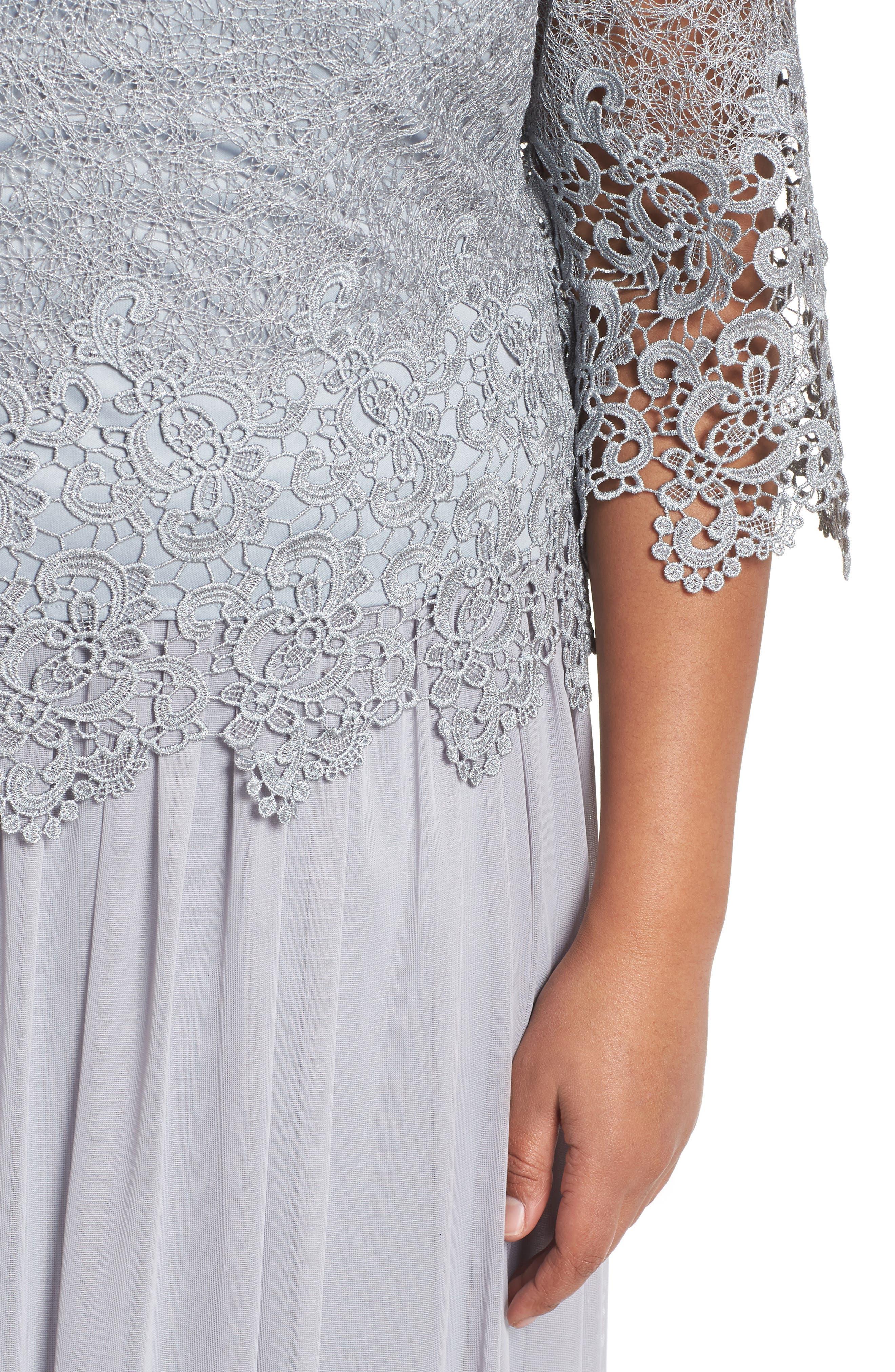 Lace & Chiffon Tea Length Dress,                             Alternate thumbnail 4, color,                             SILVER