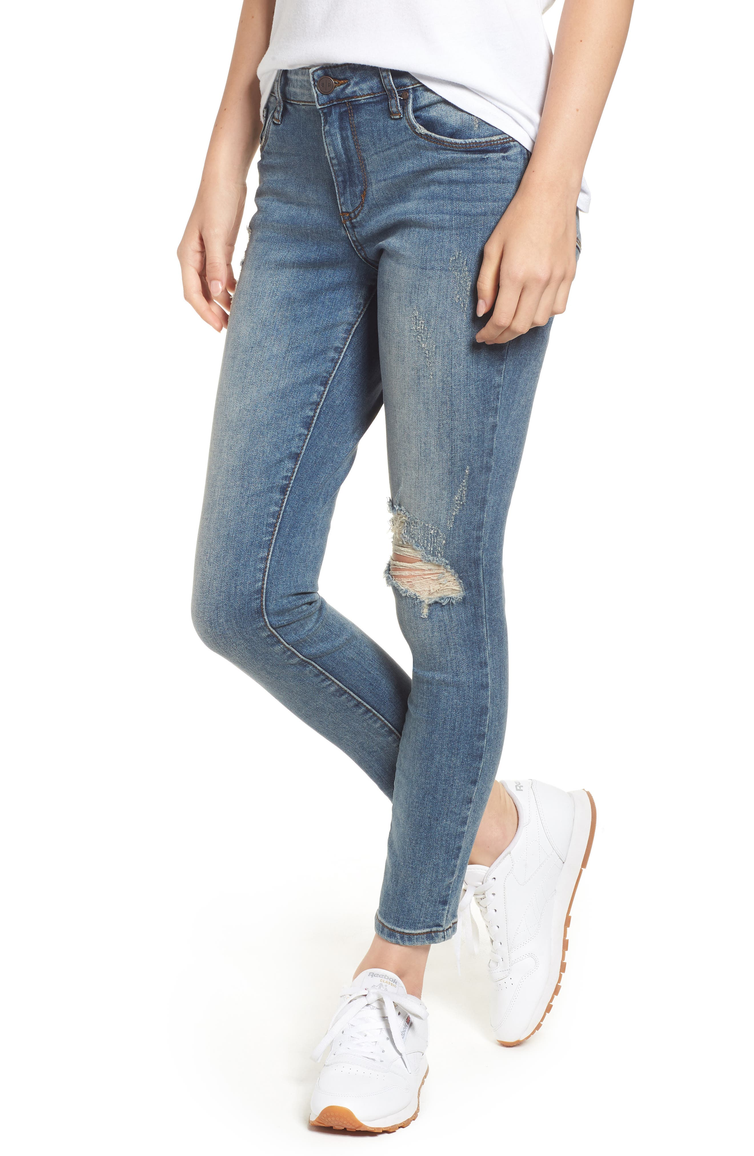 Distressed Skinny Jeans,                             Main thumbnail 1, color,                             LIGHT WASH