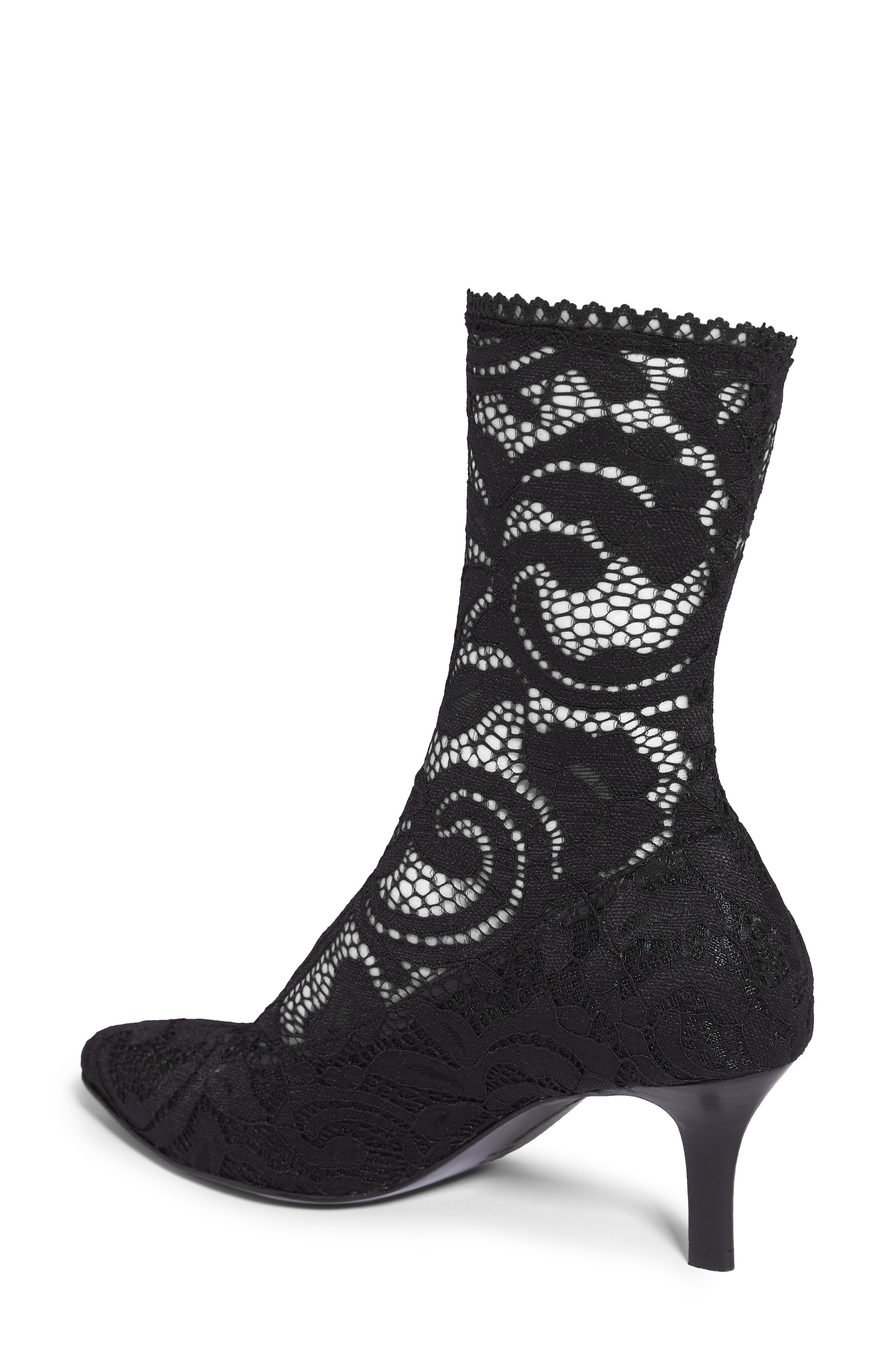 Queen Stretch Lace Sock Bootie,                             Alternate thumbnail 2, color,                             001