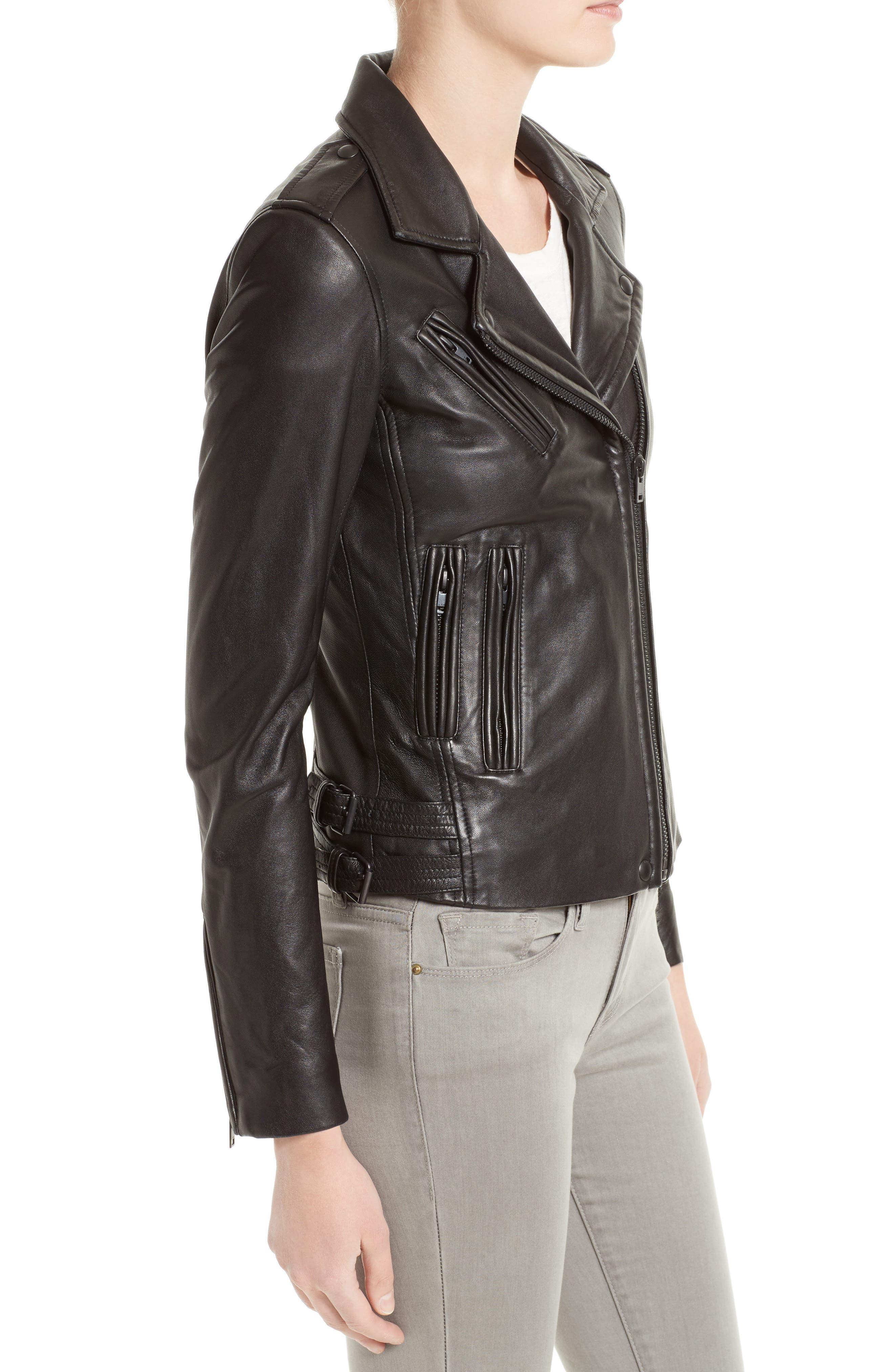 'Han' Lambskin Leather Moto Jacket,                             Alternate thumbnail 3, color,                             BLACK/ BLACK