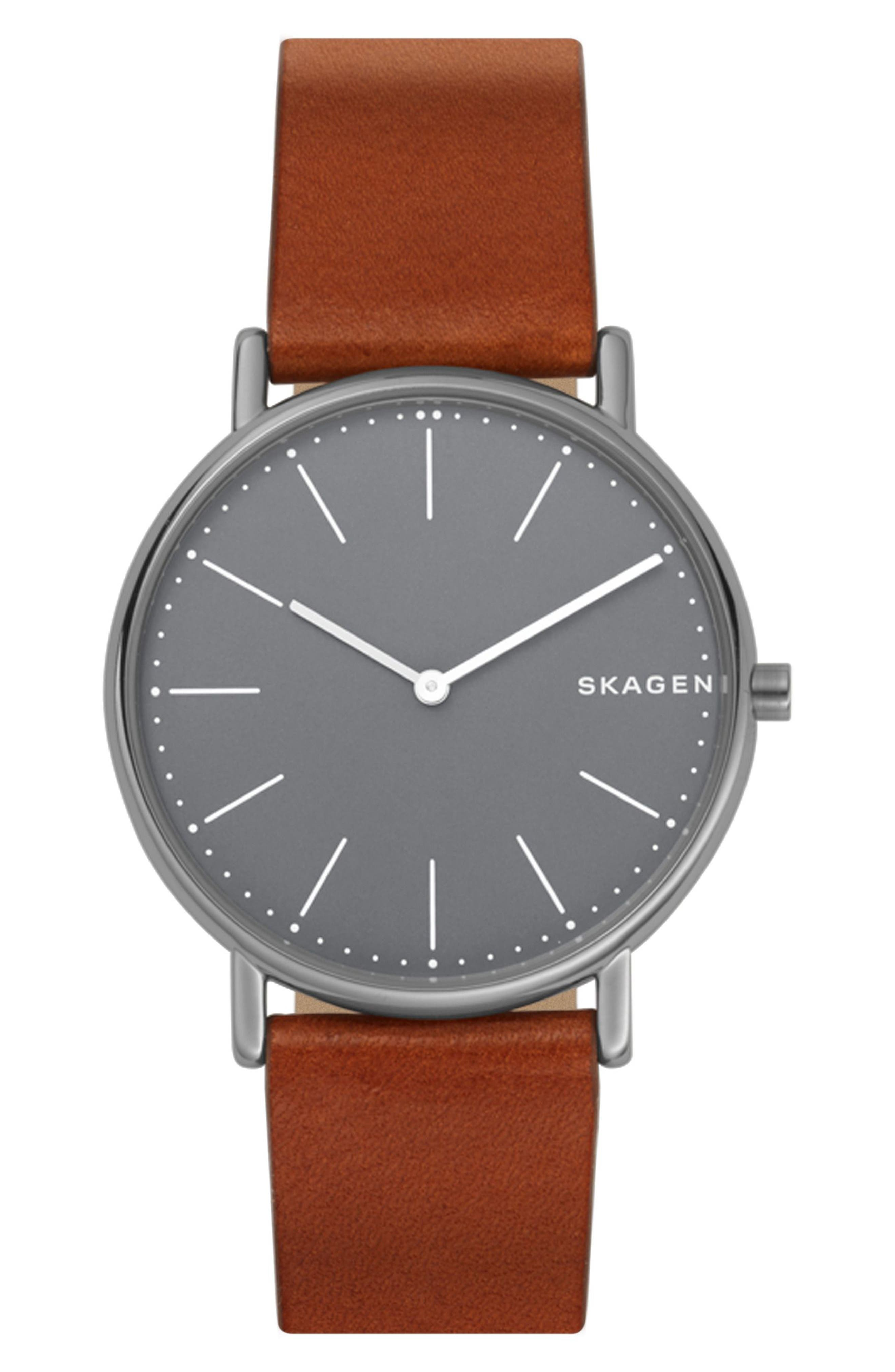 Signatur Slim Leather Strap Watch, 40mm,                             Main thumbnail 1, color,                             BROWN/ GREY