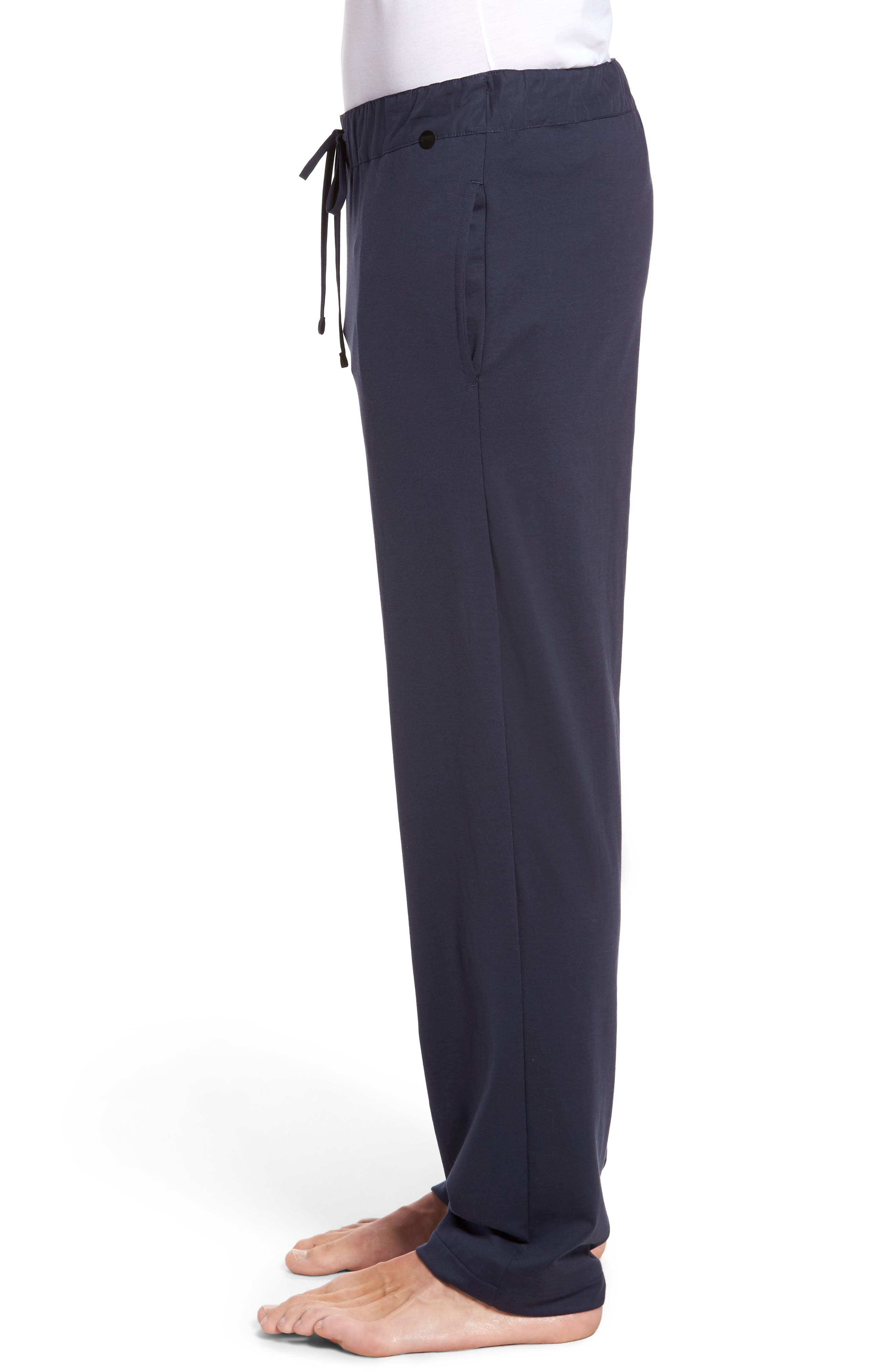 HANRO,                             Night & Day Knit Lounge Pants,                             Alternate thumbnail 3, color,                             BLACK IRIS