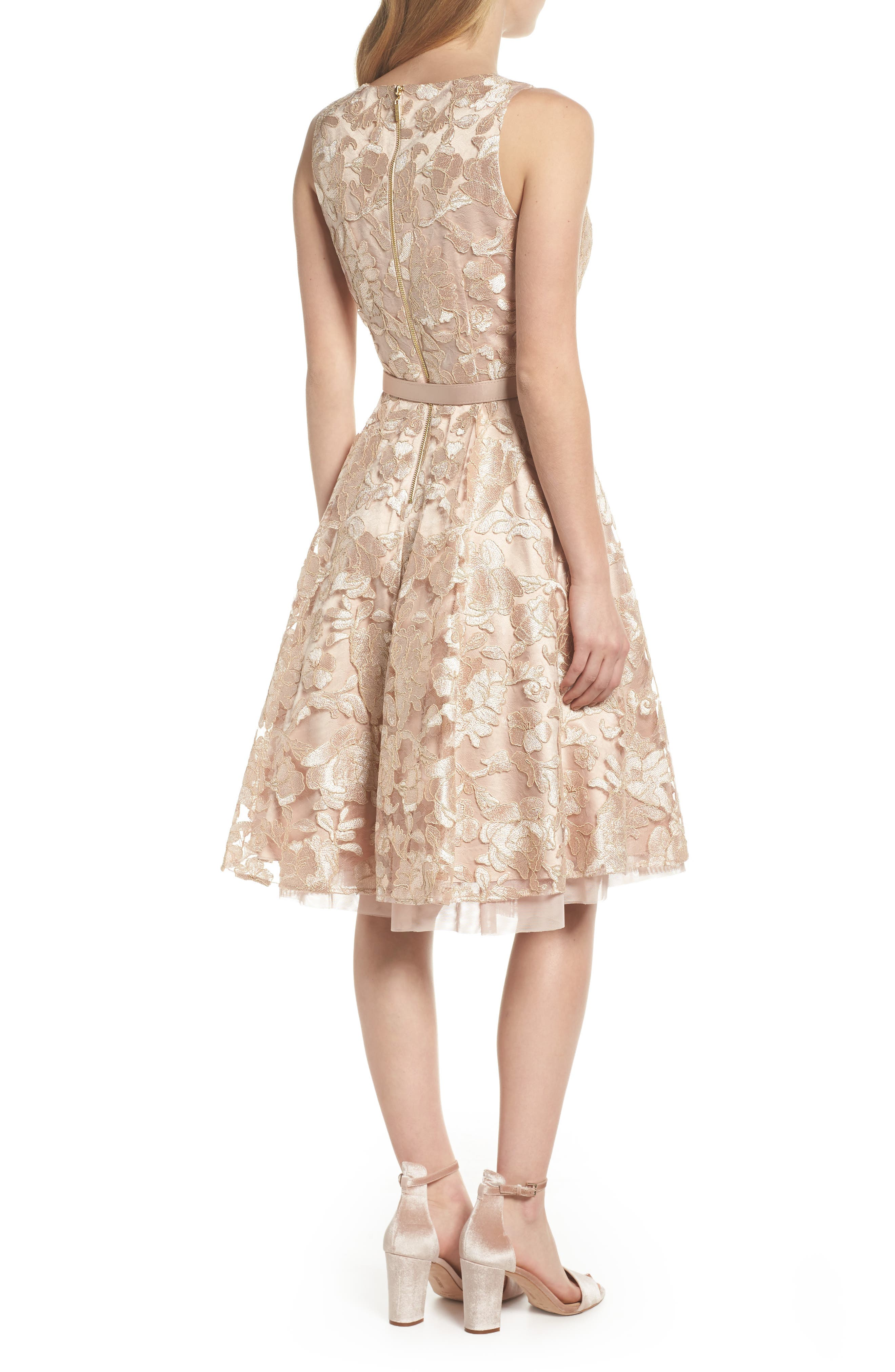 Belted Lace Fit & Flare Dress,                             Alternate thumbnail 2, color,                             251