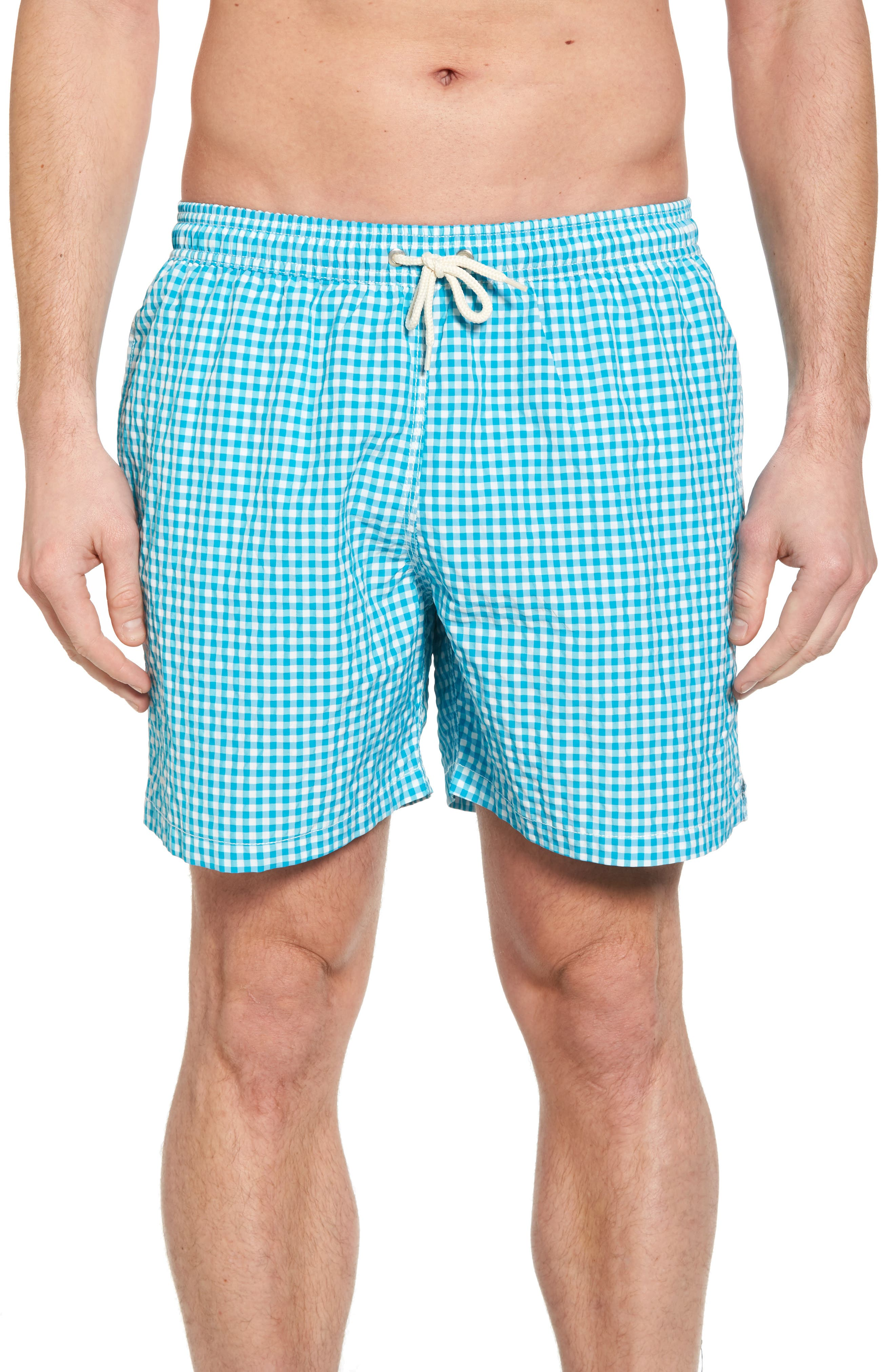 Gingham Check Swim Trunks,                         Main,                         color, 440