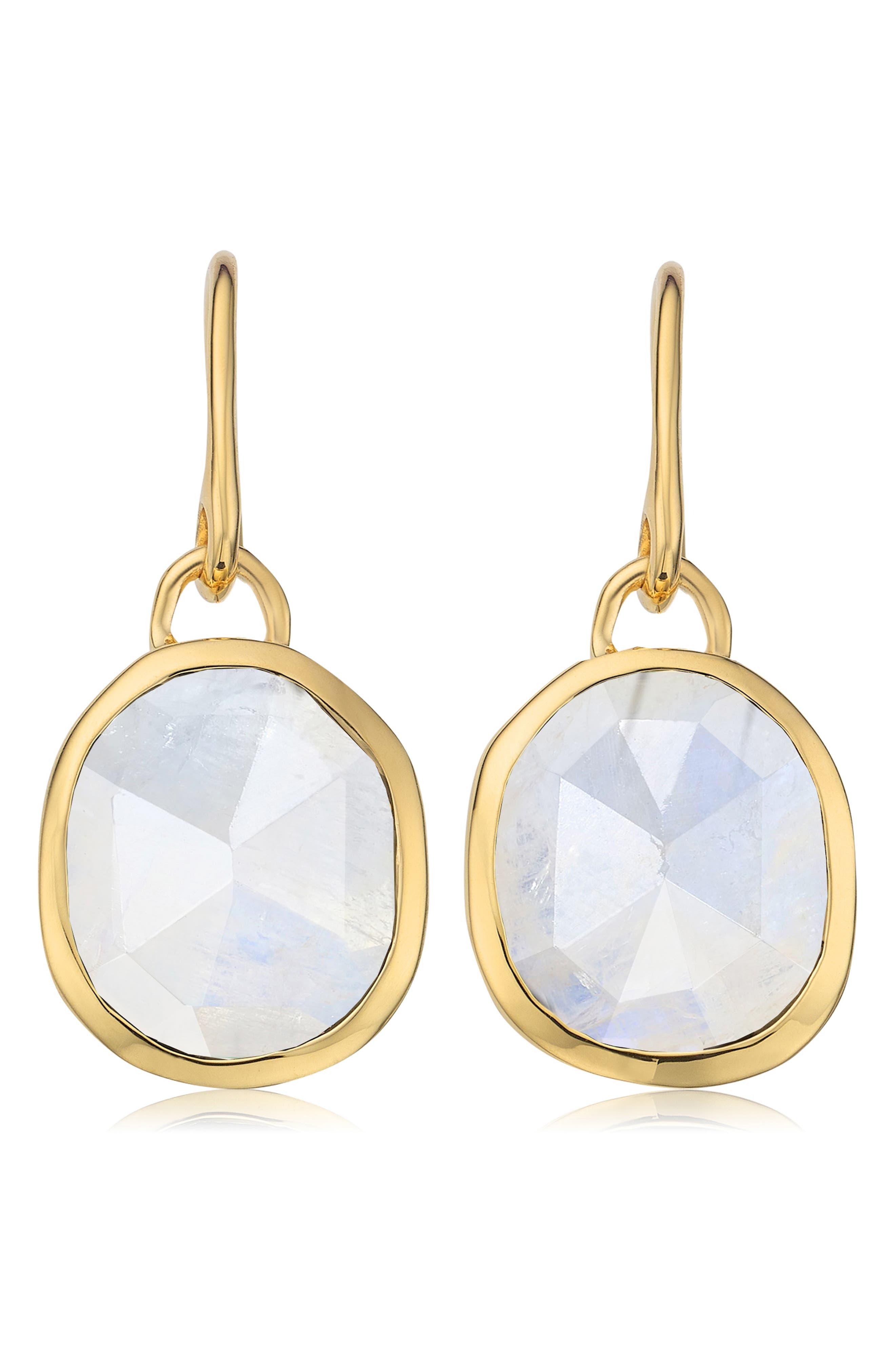 Siren Bezel Set Onyx Earrings,                             Main thumbnail 1, color,                             GOLD/ MOONSTONE