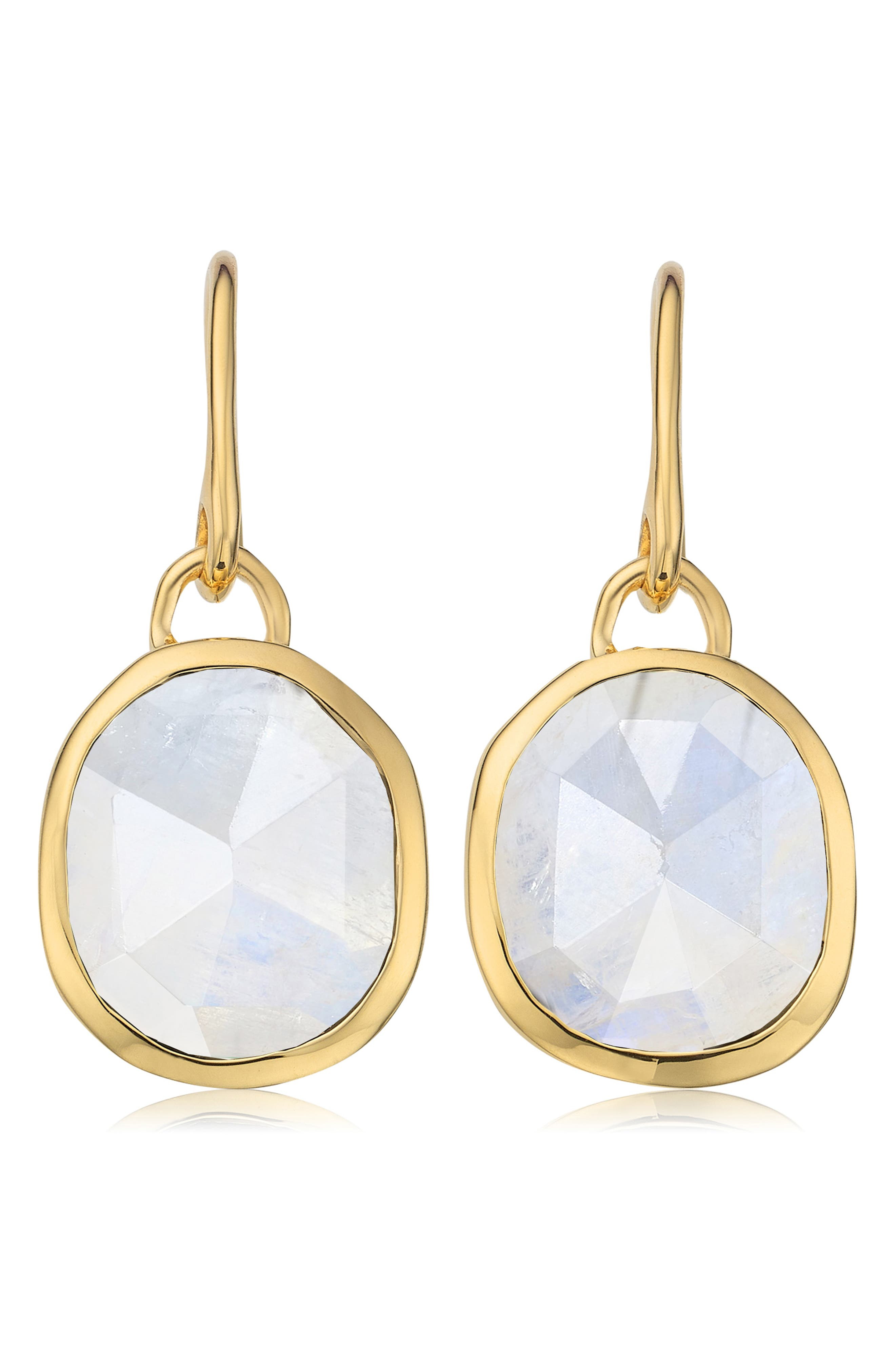 Siren Bezel Set Onyx Earrings, Main, color, GOLD/ MOONSTONE