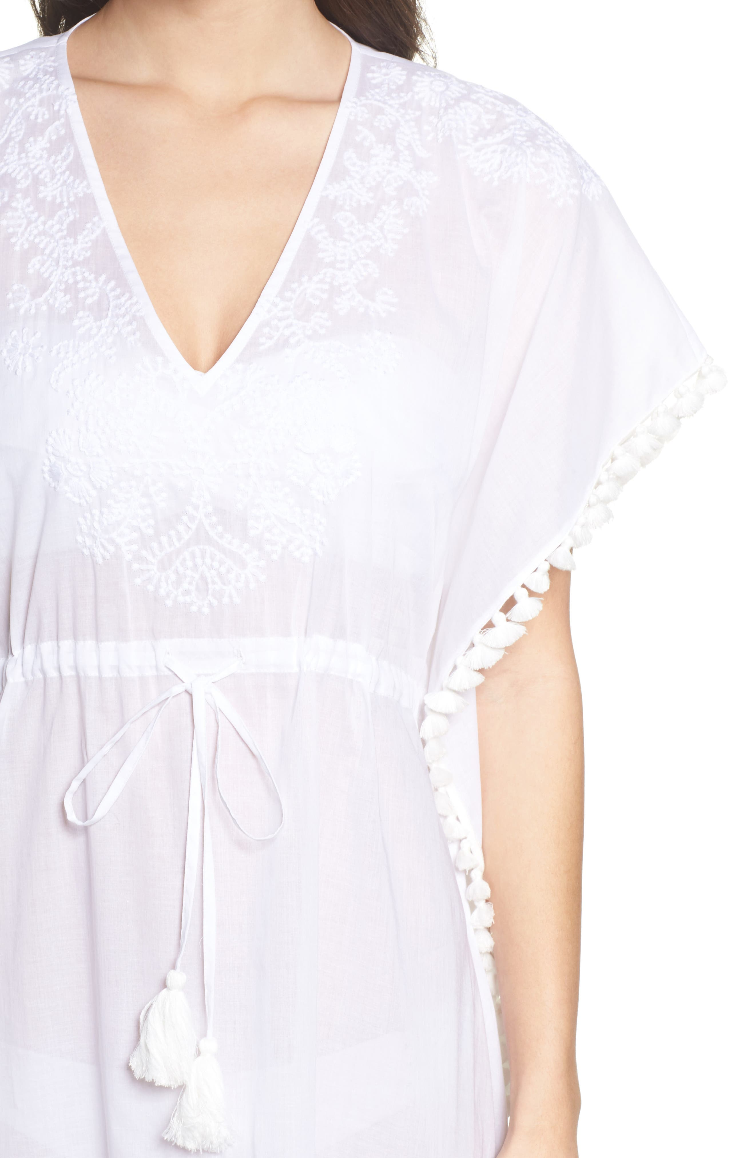 Embroidered Cover-Up Caftan,                             Alternate thumbnail 4, color,                             WHITE / WHITE