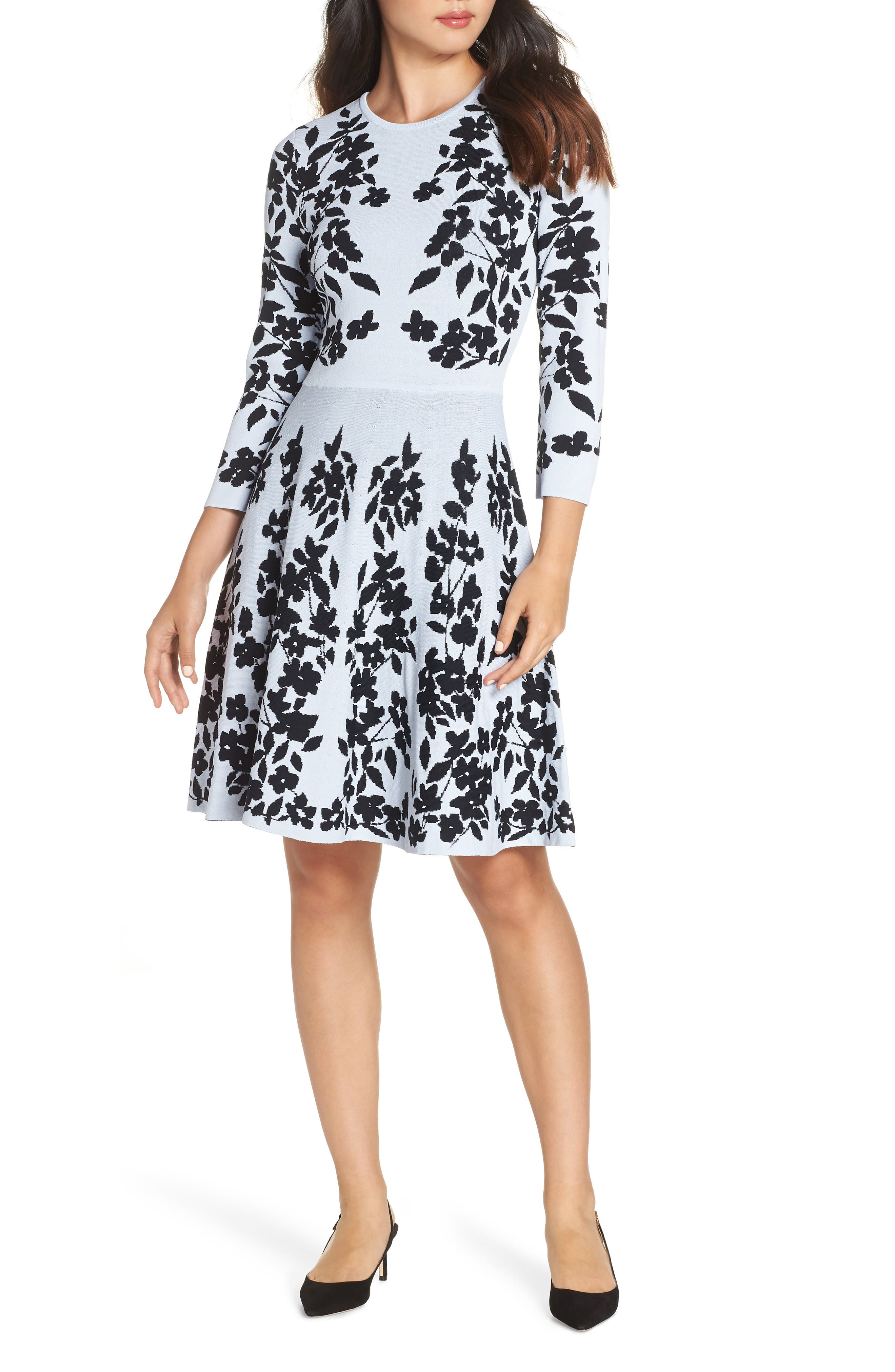Floral Fit & Flare Sweater Dress,                         Main,                         color, BLUE