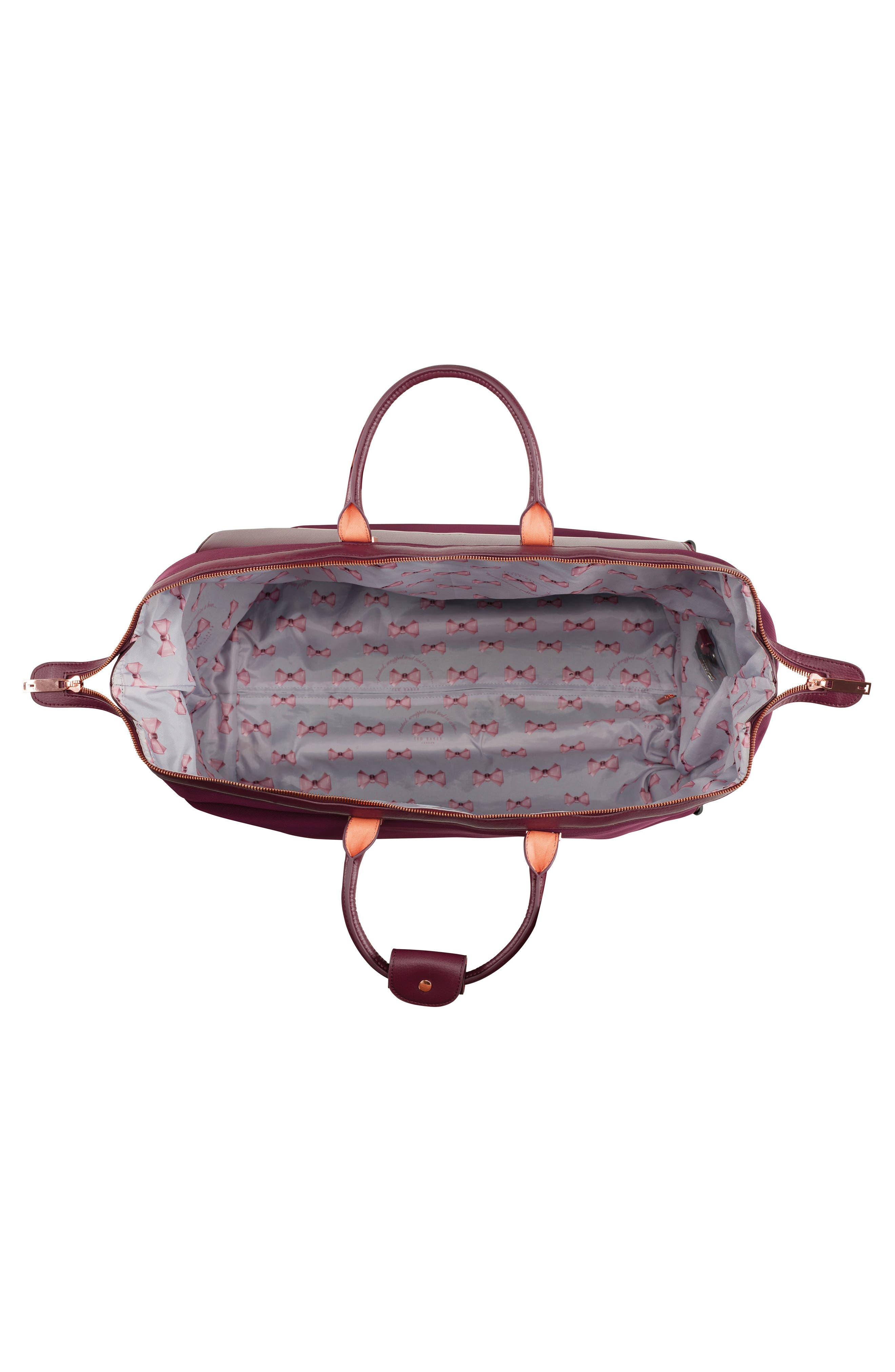 22-Inch Large Front Pocket Rolling Duffel Bag,                             Alternate thumbnail 2, color,                             BURGUNDY