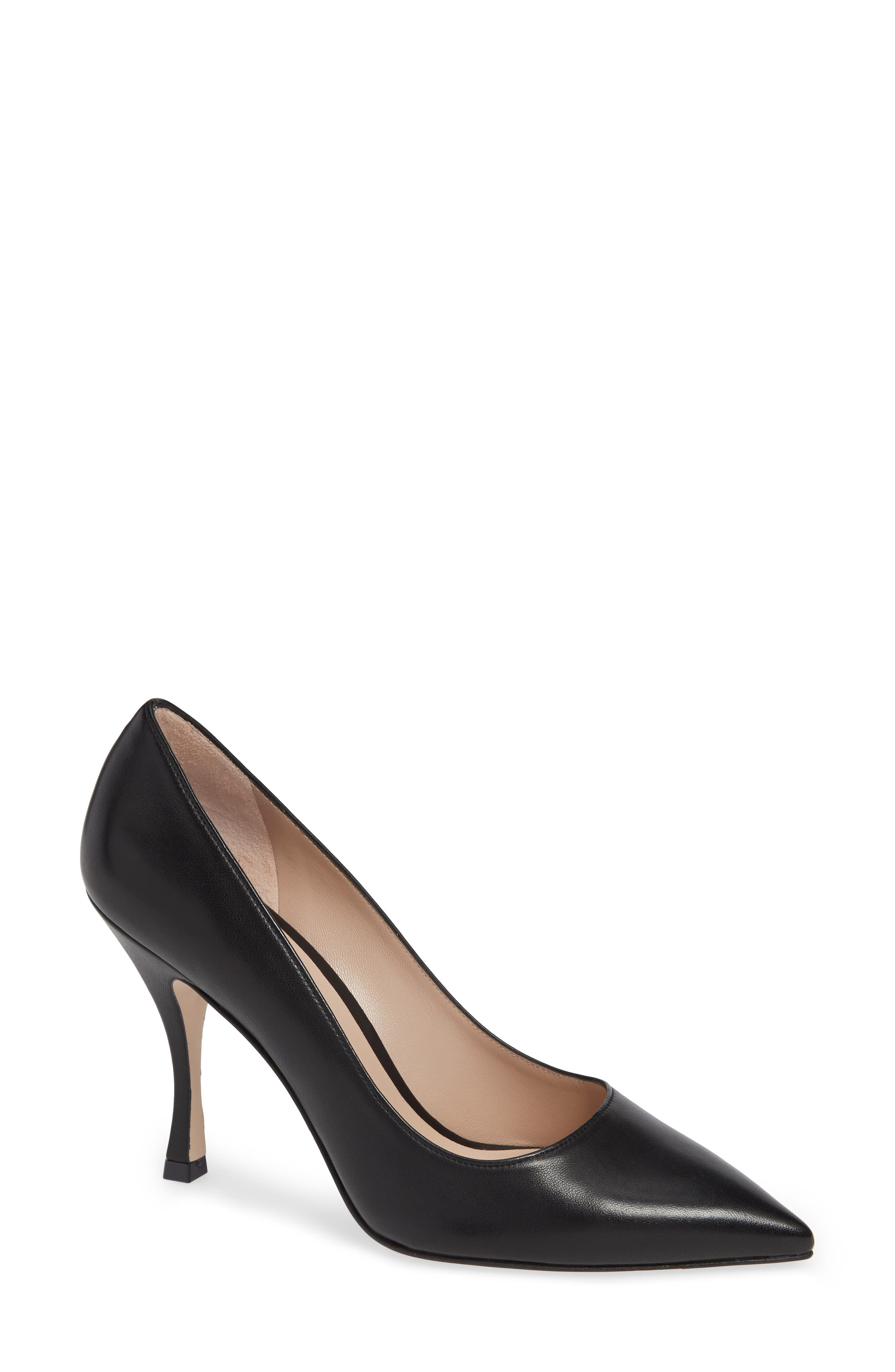 Women'S Tippi 95 Pointed Toe Leather High-Heel Pumps in Black