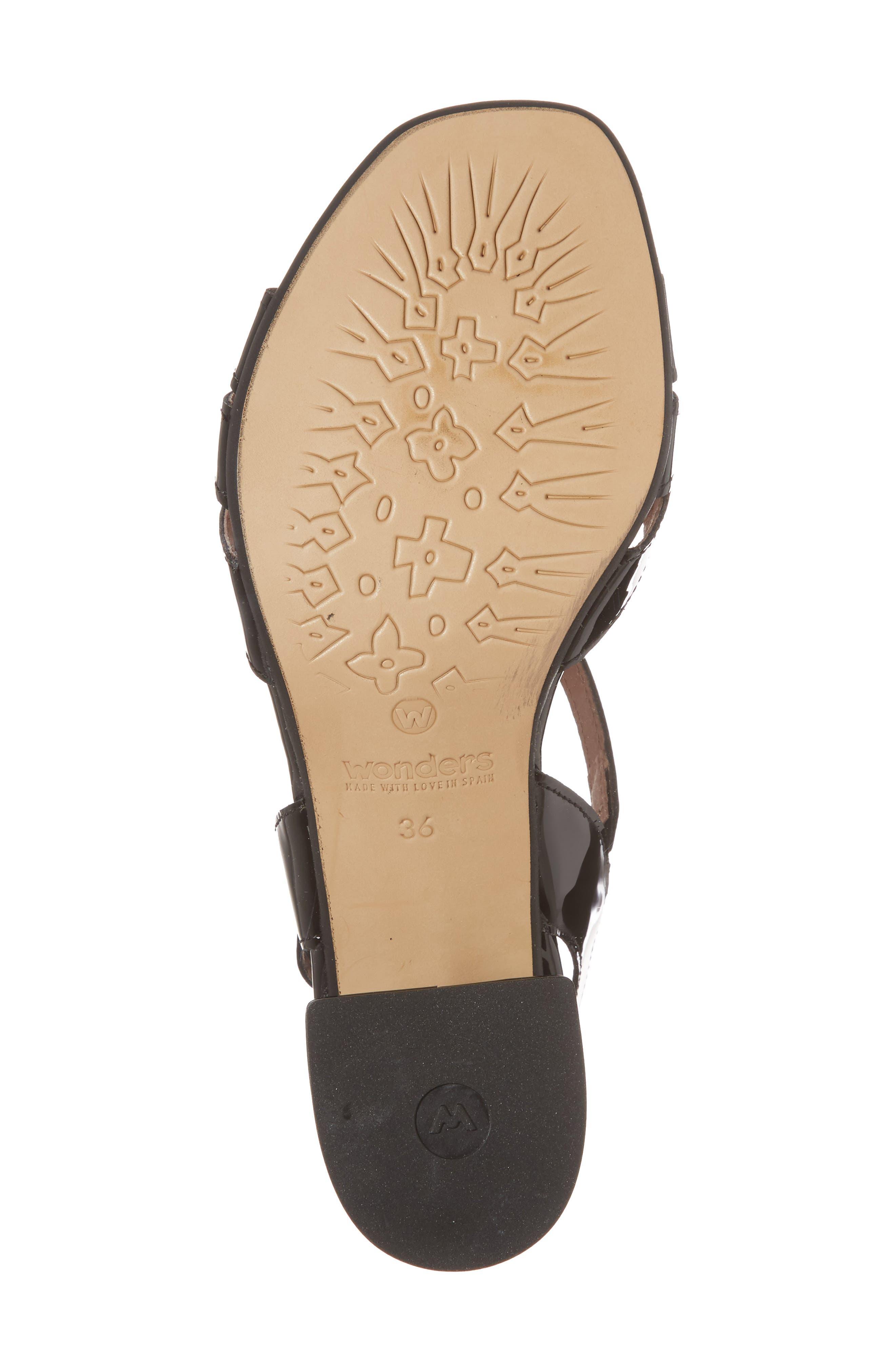 Block Heel Sandal,                             Alternate thumbnail 6, color,                             BLACK LEATHER