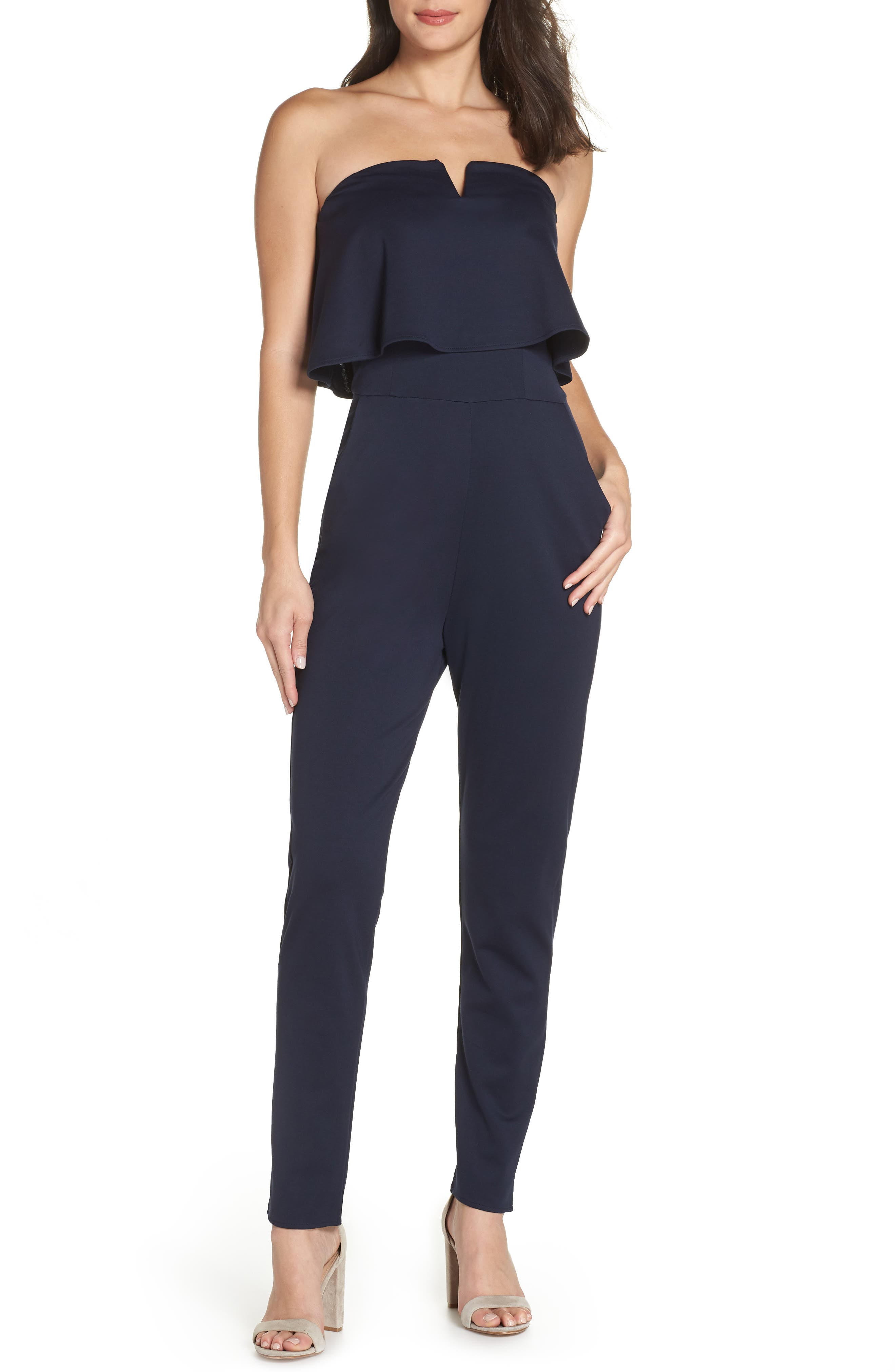 Strapless Jumpsuit,                         Main,                         color, NAVY