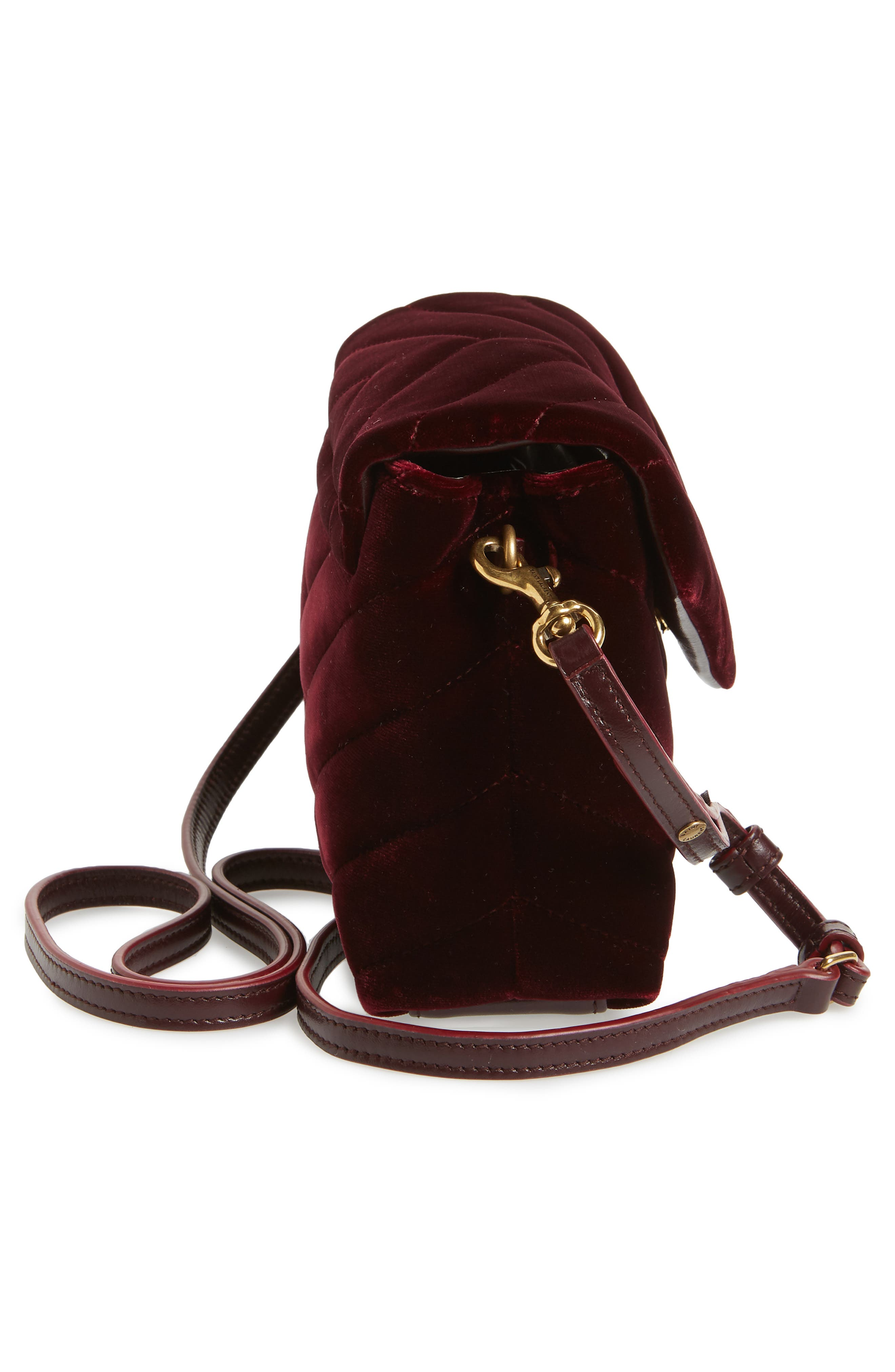 SAINT LAURENT,                             Toy Loulou Velvet Crossbody Bag,                             Alternate thumbnail 5, color,                             930