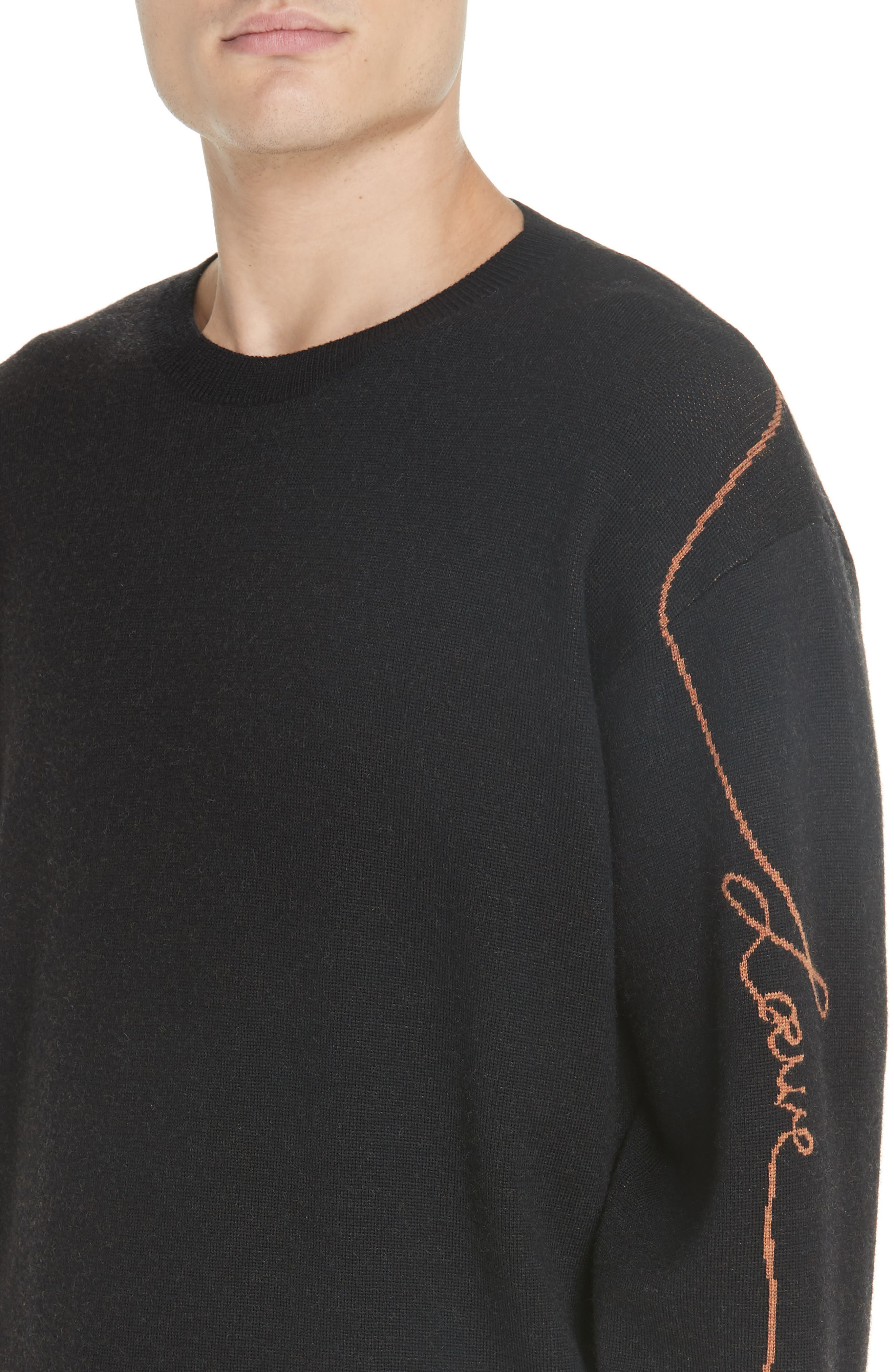 Logo Jacquard Wool Sweater,                             Alternate thumbnail 4, color,                             BLACK