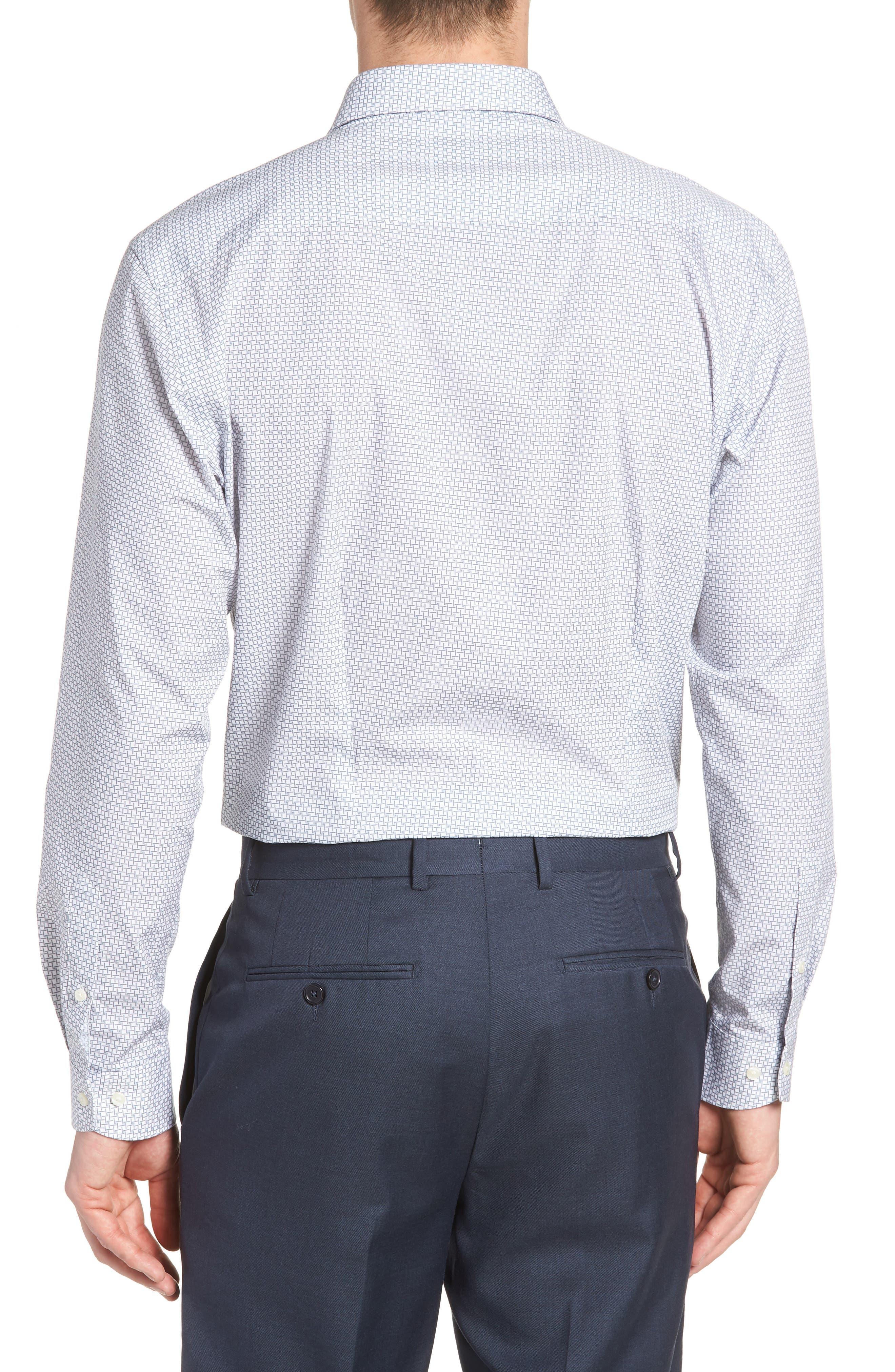 Rosprim Trim Fit Geometric Dress Shirt,                             Alternate thumbnail 3, color,                             GREY
